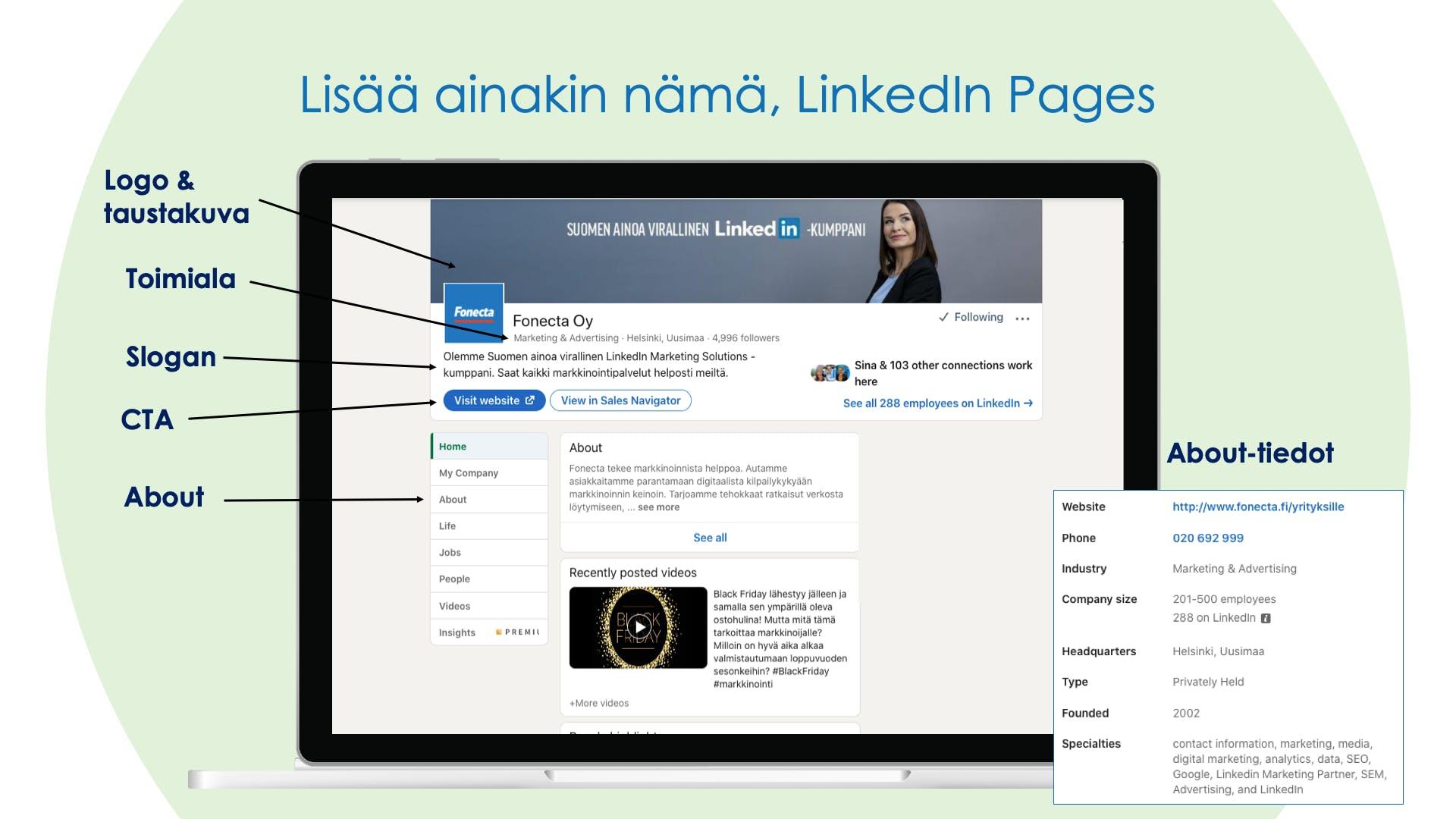 Vinkit LinkedIn yritysprofiiliin - millainen on hyvä LinkedIn yritysprofiili?