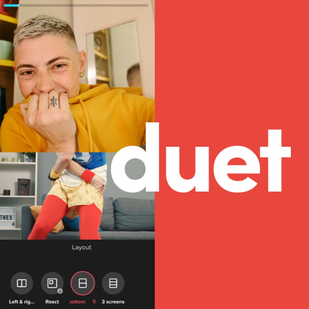 TikTok promotes its new Duet layouts that enable more than two people to appear in a video at once through collaborations between users