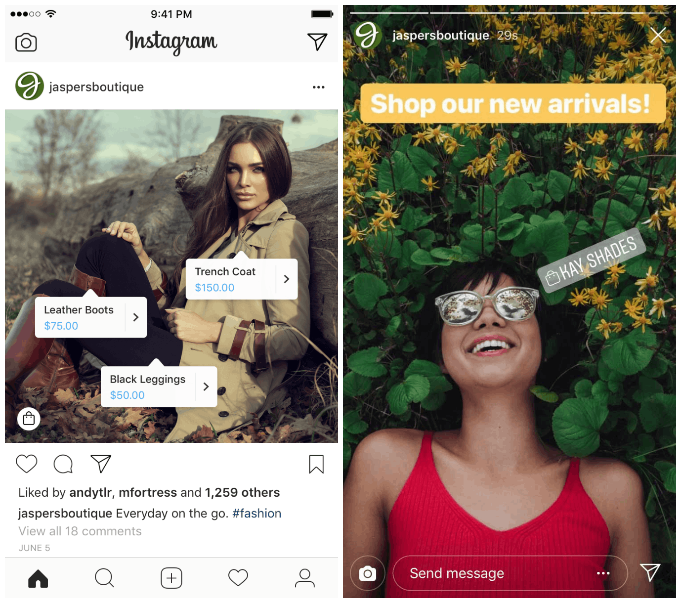 L to R: Shoppable tags are added in the form of product tags on image posts and stickers on IG Stories
