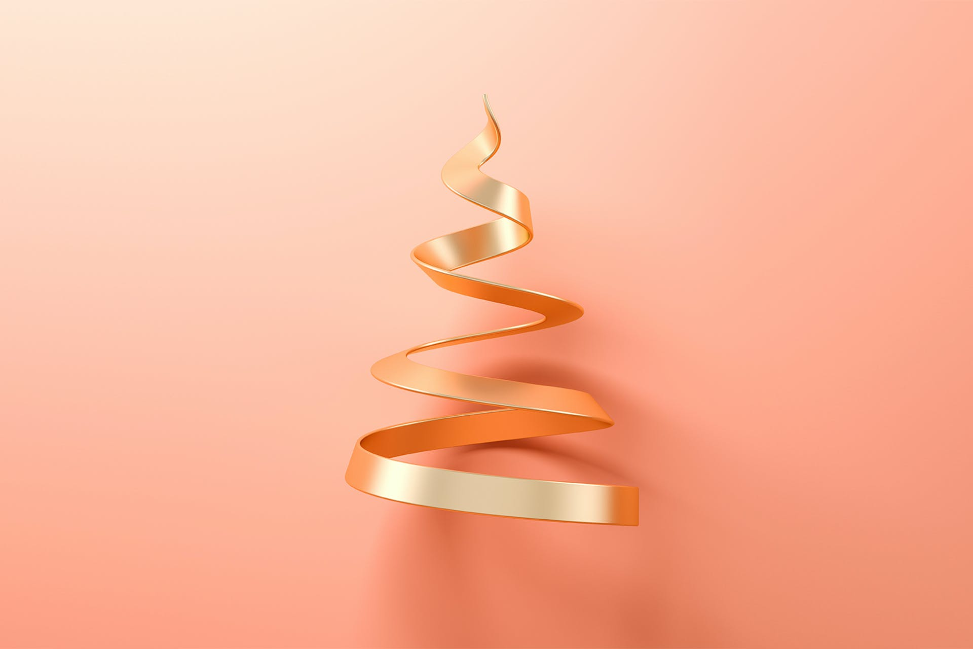 A gold, metal spiral pointing towards the sky set against a light orange backdrop. This image is being used for a blog on content marketing trends for 2022.