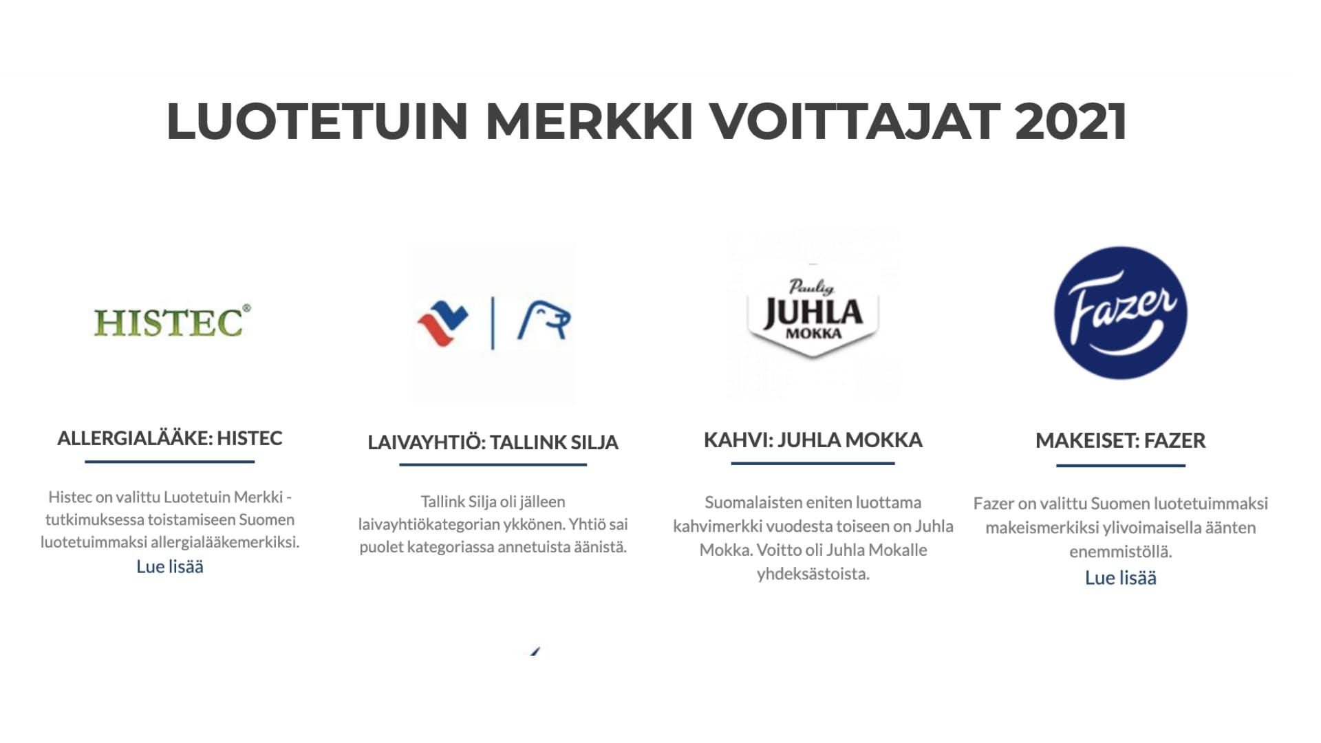 Luotetun merkin voittajat 2021 - yritysten logot ja tekstiä
