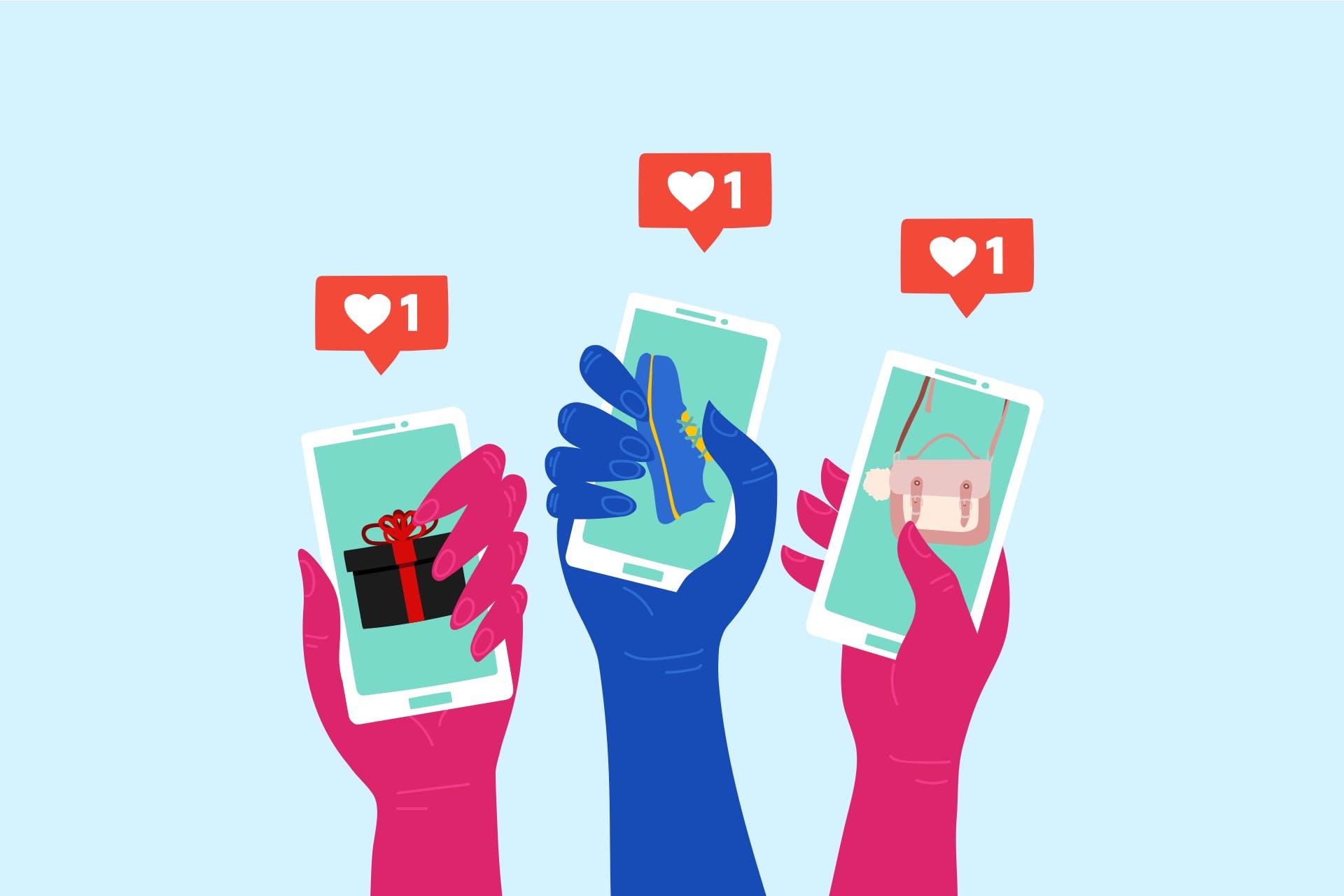Kuva älypuhelimia pitelevistä käsistä, älypuhelimien näytöillä on tuotteita.