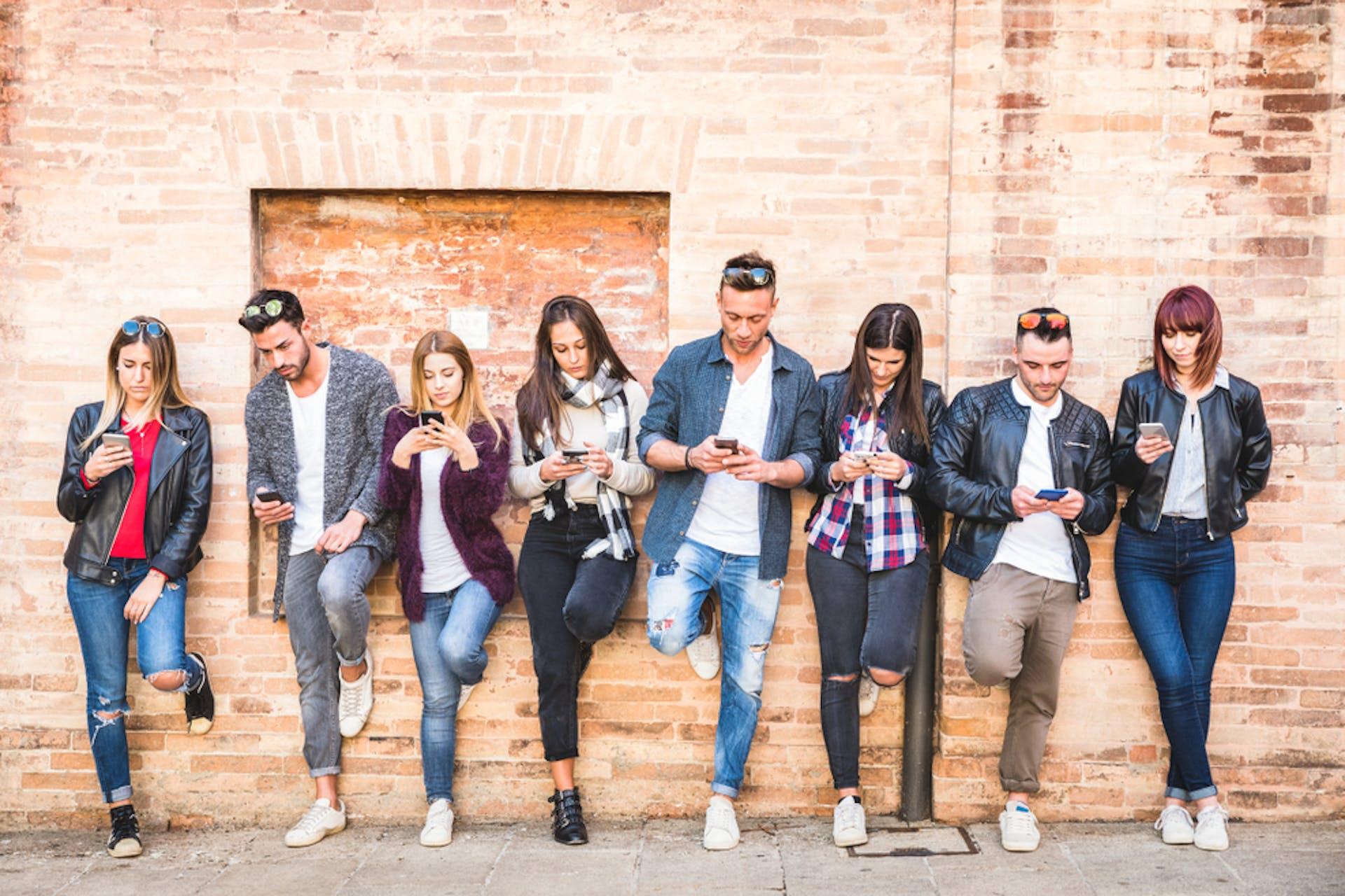 Millennials and Gen-Z on smart phone