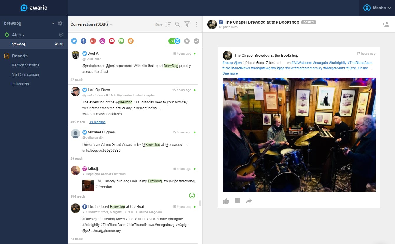 awario dashboard for social media monitoring tool