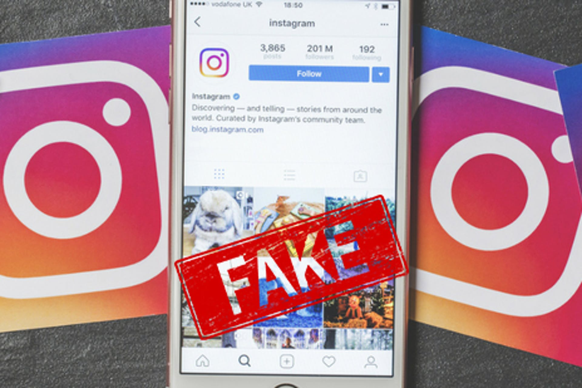 Fake Stempel auf Instagram Screen auf iPhone