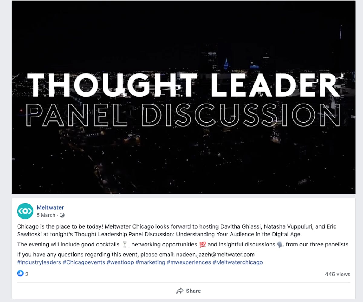 An example of a Facebook video post by Meltwater highlighting a thought leader panel discussion in Chicago