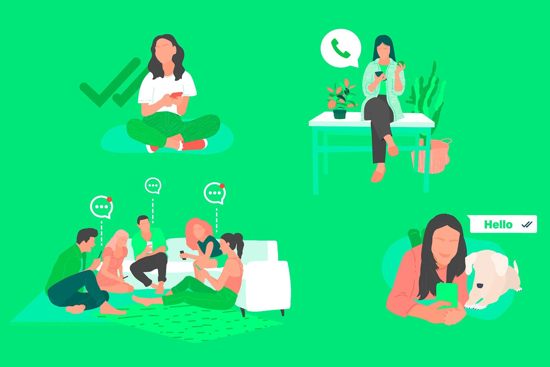 Illustraatio ihmisistä lähettämässä ja vastaanottamassa WhatsApp-viestejä