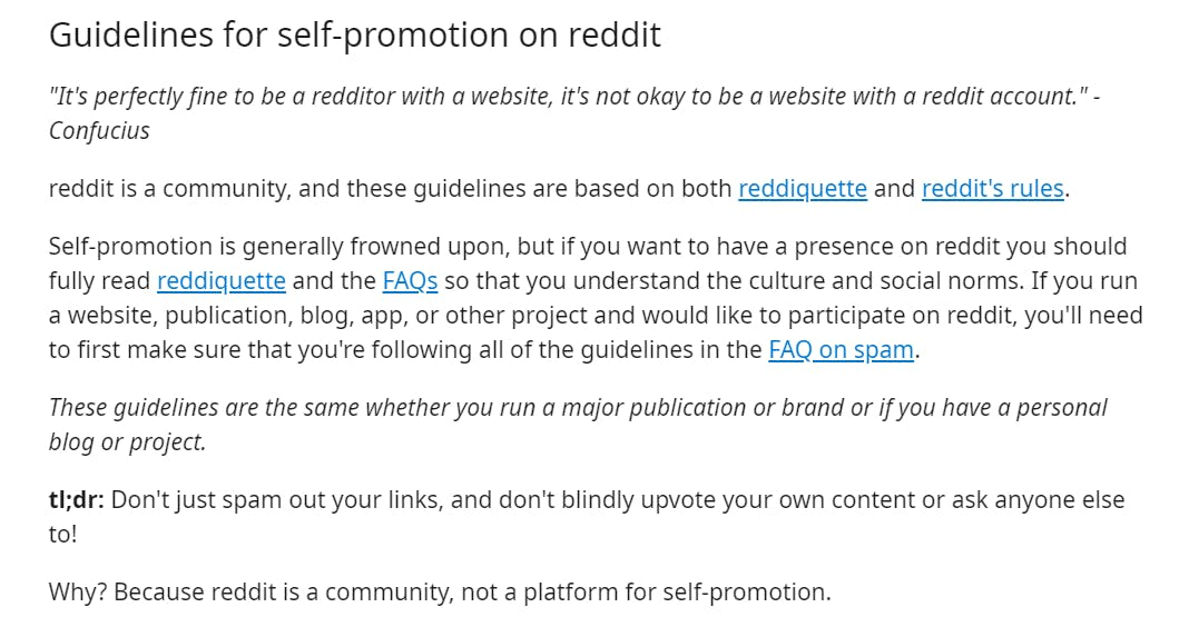 screenshot of reddit marketing and guidelines for self promotion on reddit