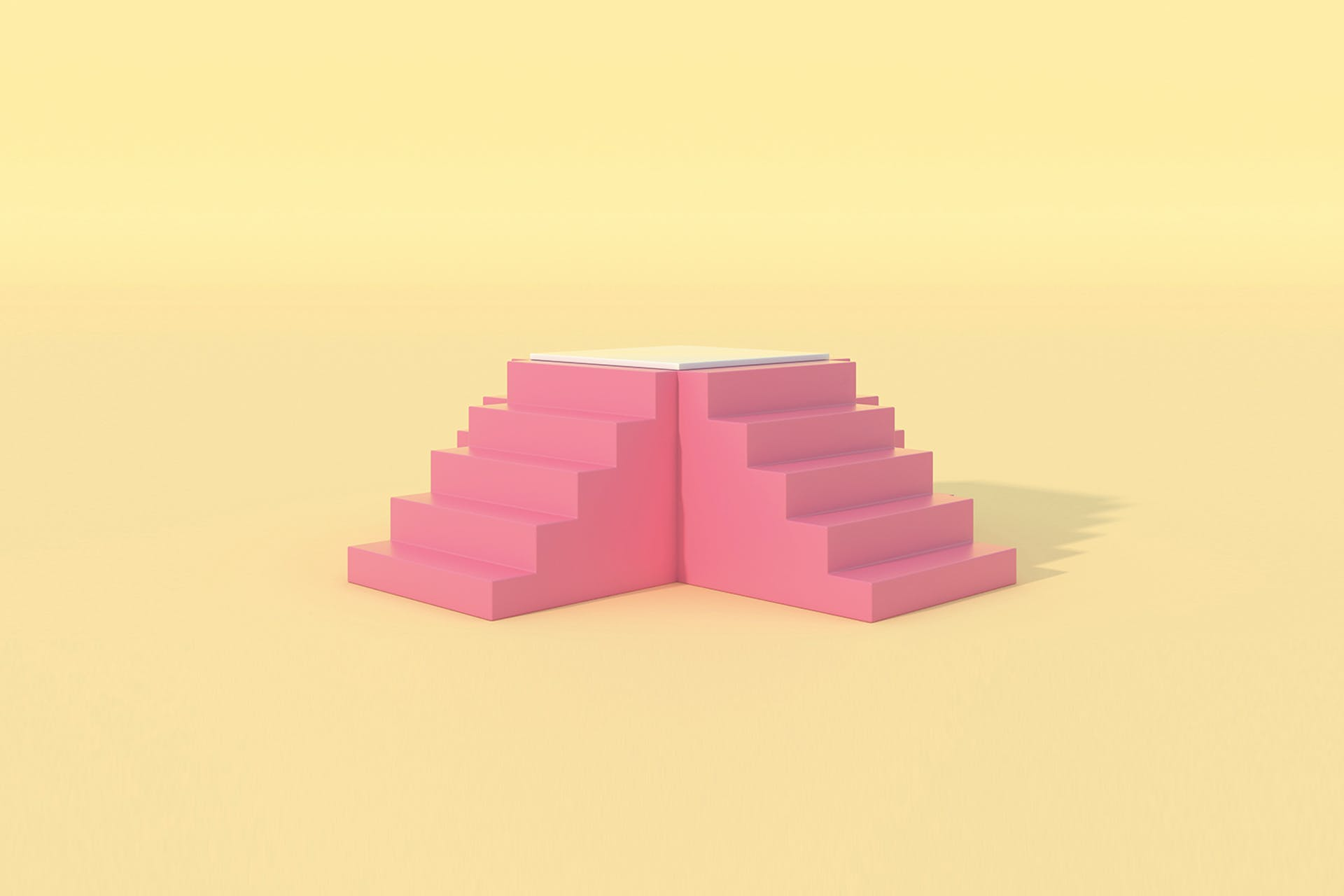 A 3D rendering of four sets of stairs that all meet to form a platform. This image is being used on a blog that describes the steps involved in building brand equity.