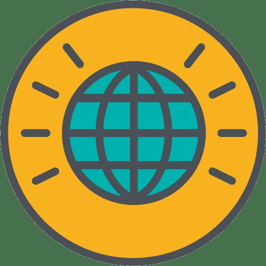 Man sieht ein gelb-blaues Icon mit der Weltkugel in der Mitte, um die Wichtigkeit interner Newsletter KPIs zu unterstreichen.