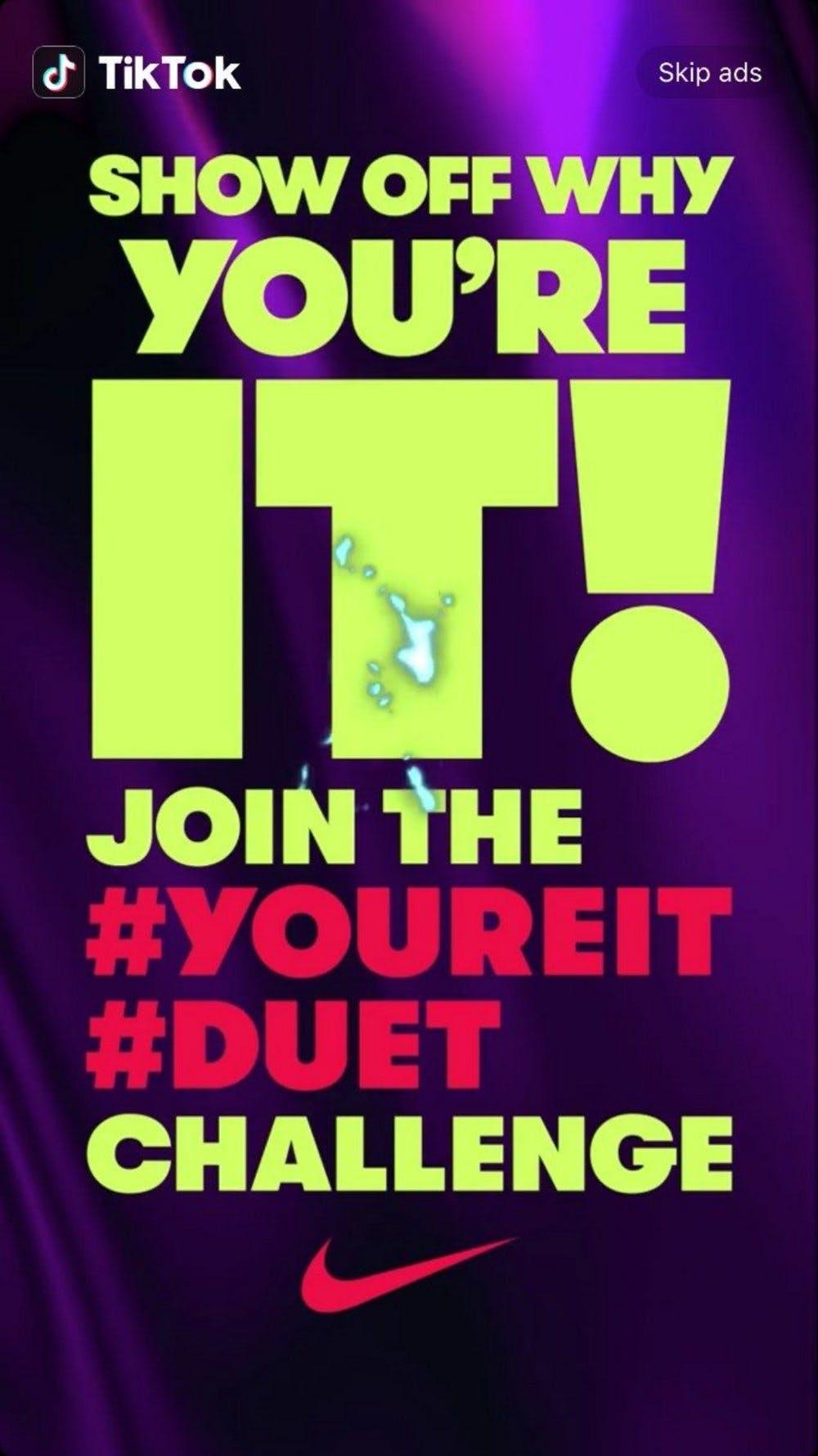 TikTok Nike Werbung #youreit