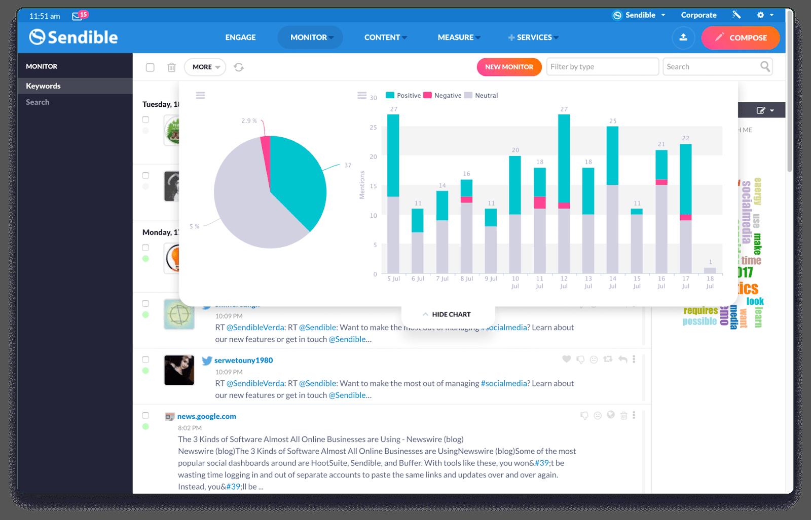 sendible monitoring dashboard for social media monitoring tool