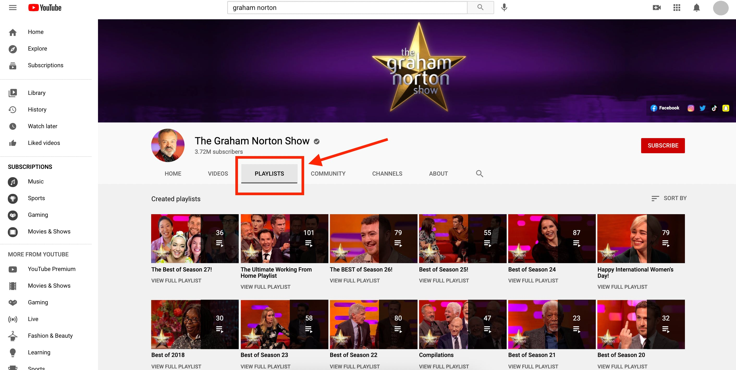 Playlists tab for the Graham Norton Show YouTube channel showing consistency and easy scannibility