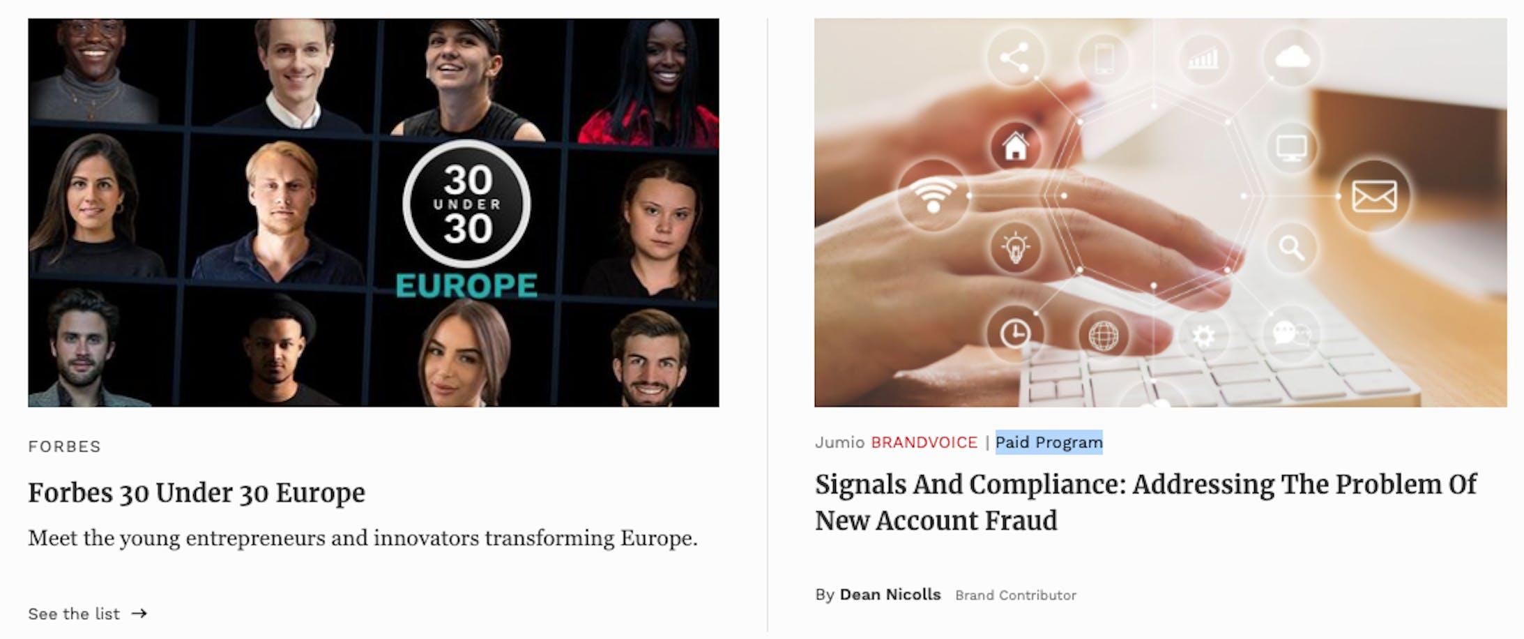 Vous pouvez voir un screenshot des contenus sponsorisés de Forbes.