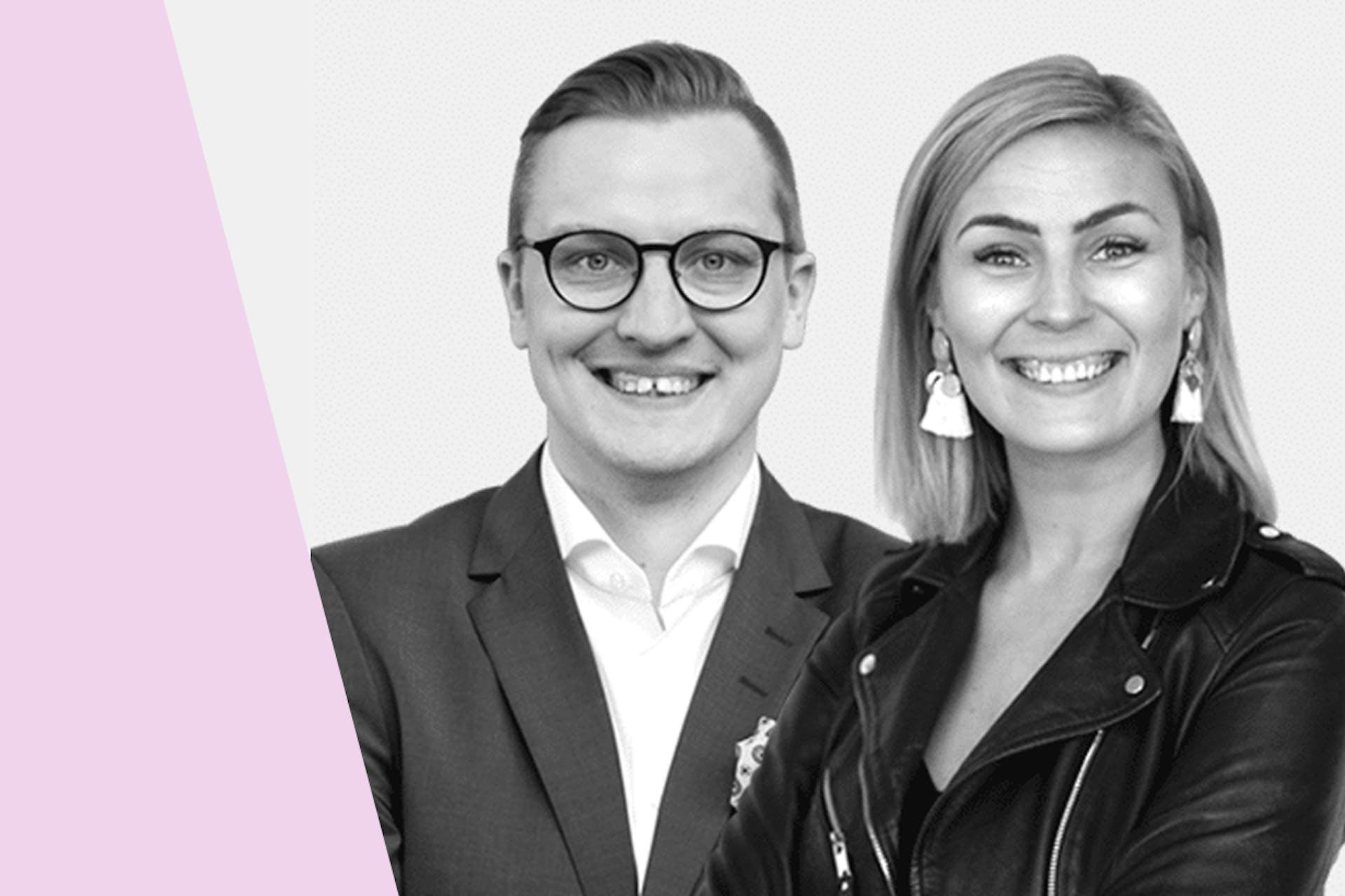 Työntekijöiden kannustaminen sosiaaliseen mediaan -webinaarin puhujat Jari Viljemaa ja Senni Niemi