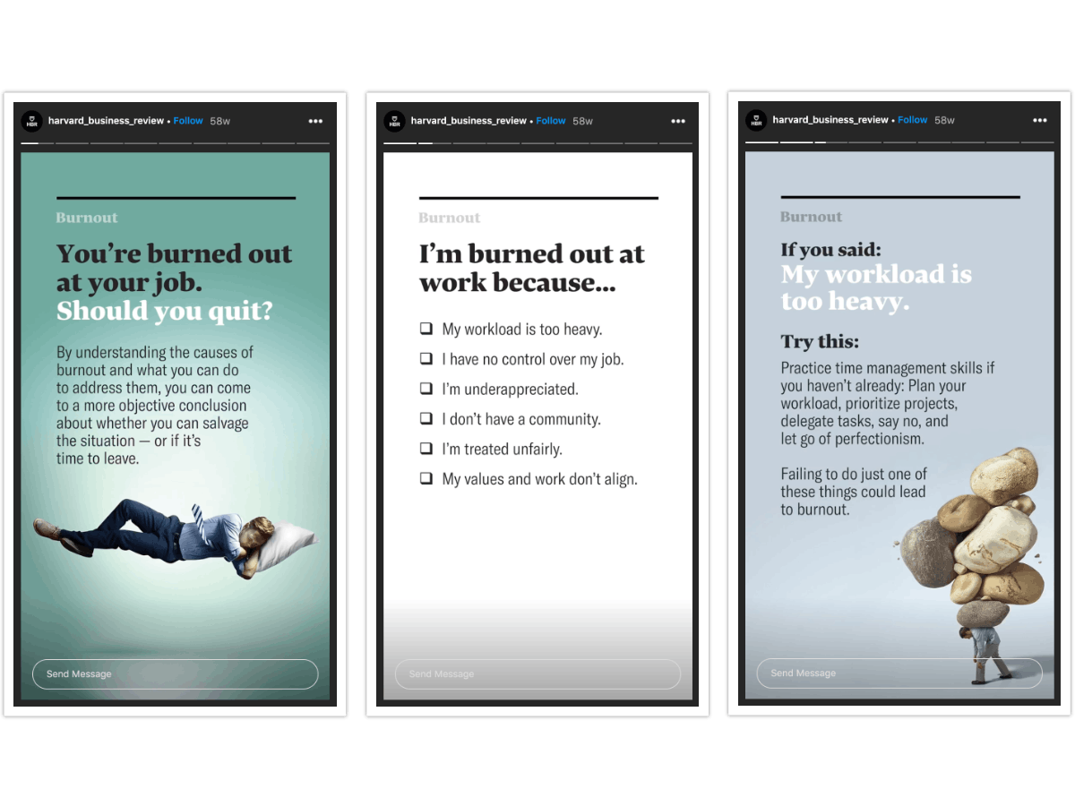 The Harvard Business review uses Stories to educate users on burnout
