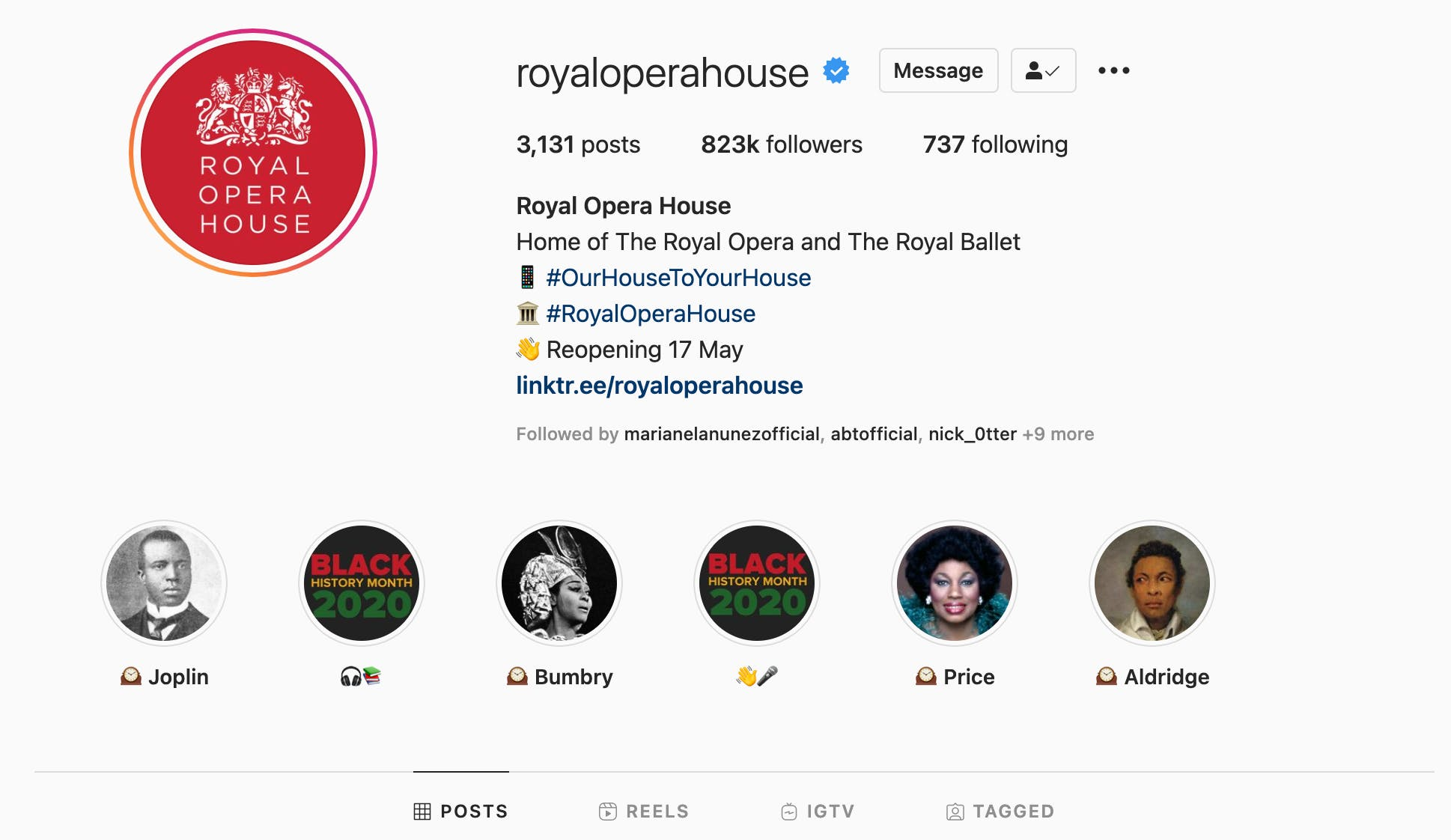 Example of a less effective Highlights row on an Instagram profile, showing inconsistent cover style