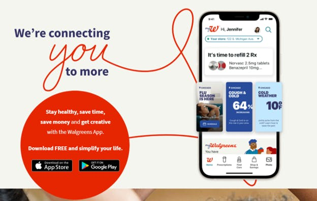 Walgreens app information.