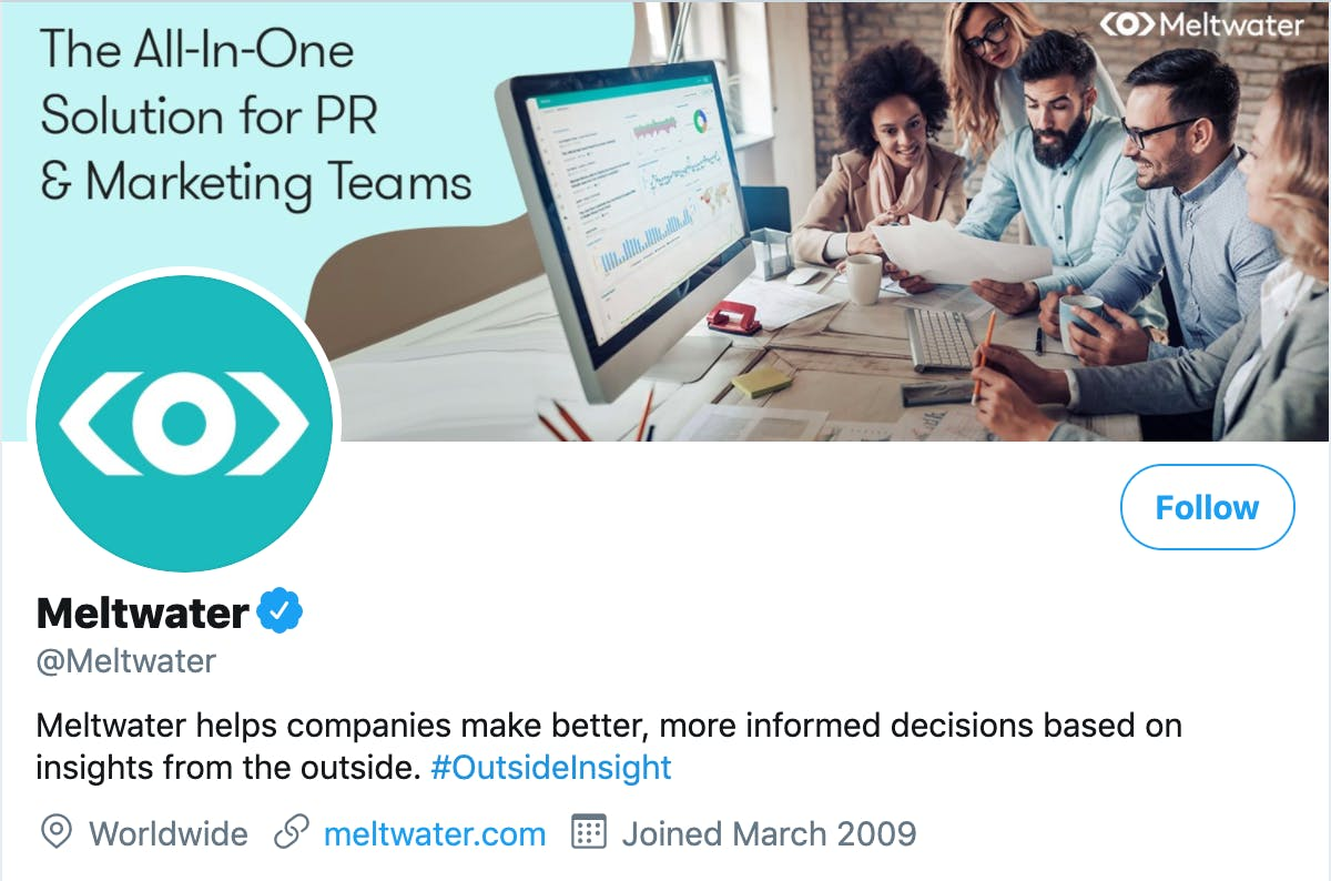 Meltwater Twitter account