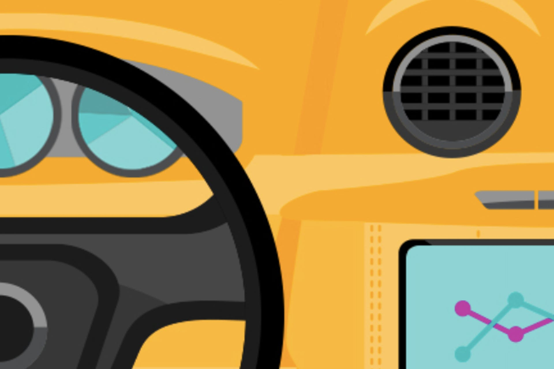 Illustration of a car dashboard on a yellow background