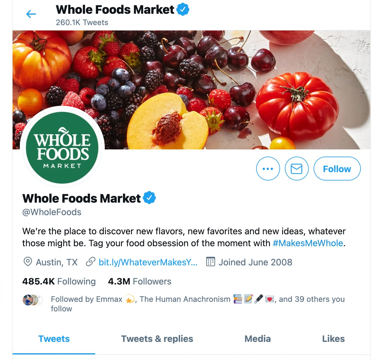 Twitter profile of Whole Foods, showing a branded hashtag in the bio