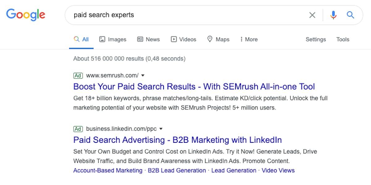 """Esimerkki hakukonemainoksesta hakusanalla """"paid search experts"""""""