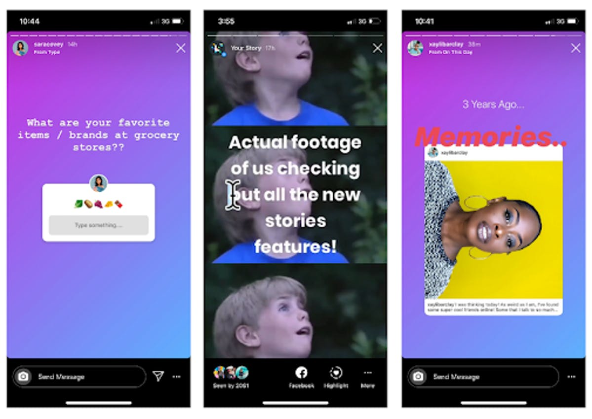Instagram Stories features: question stickers, giphy gifs, Memories function
