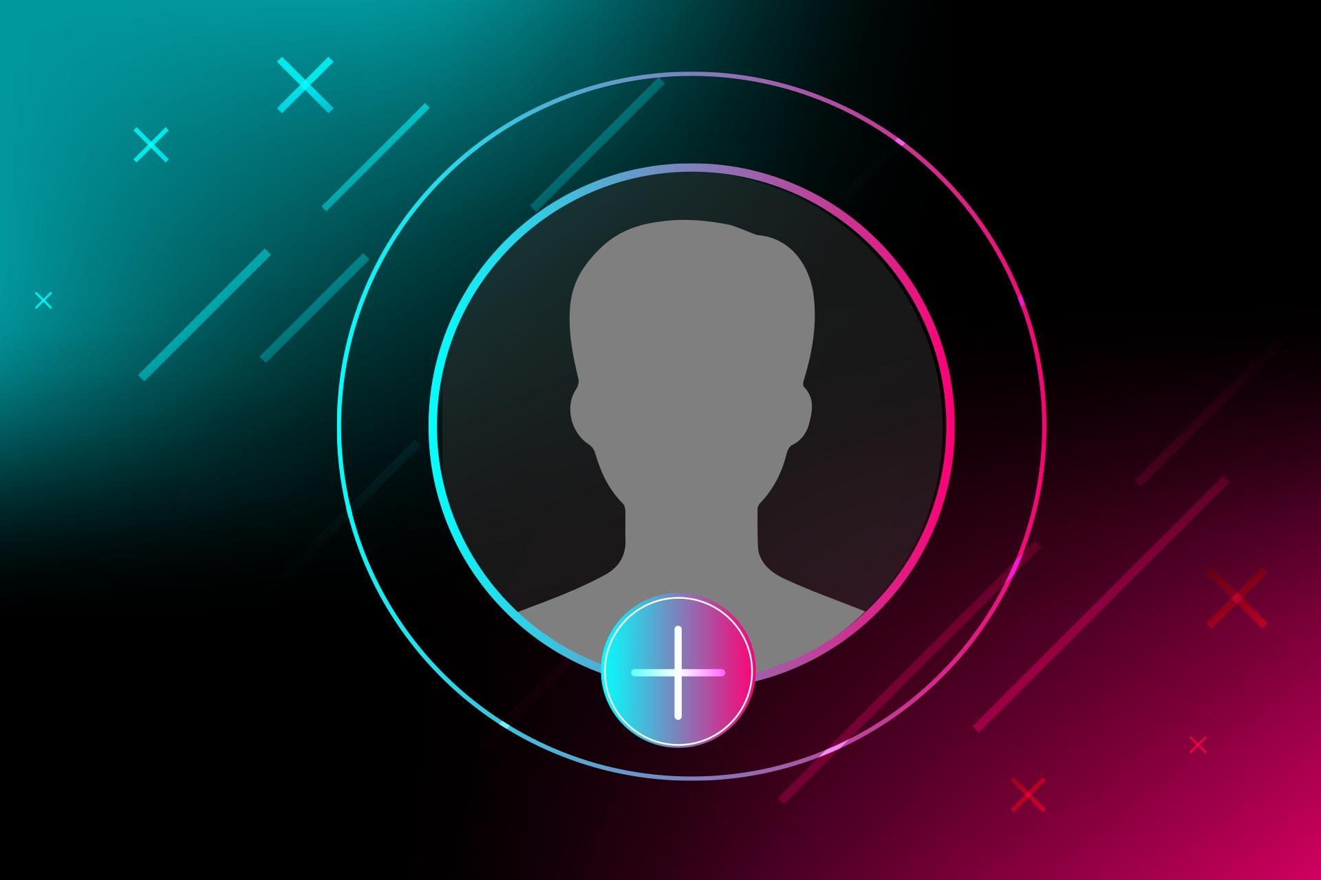 TikTok-henkinen kuvituskuva, mustalla taustalla pinkkiä ja sinistä väriä, keskellä anonyymi profiilikuva