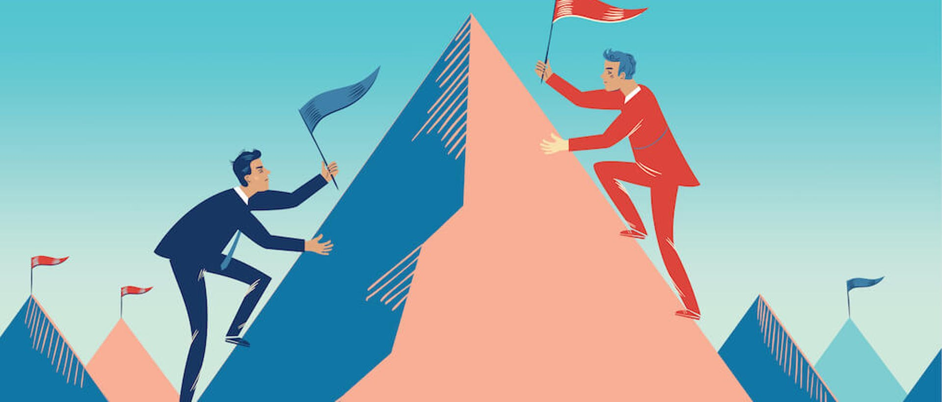 Eine comichafte Darstellung von zwei Business Männern, die versuchen schneller als der andere den Gipfel eines Berges zu erklimmen als Darstellung für eine Wettbewerbsanalyse.