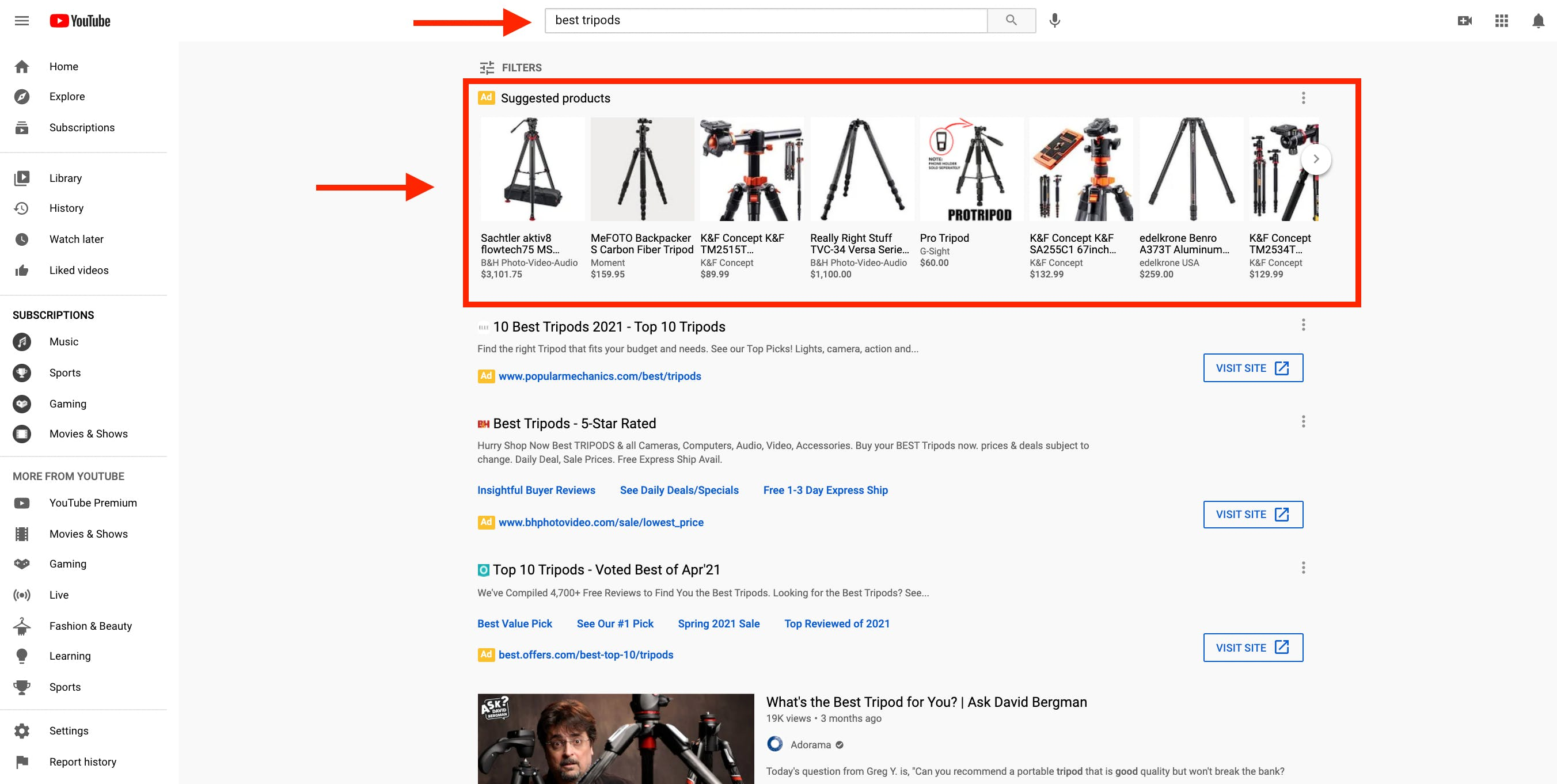 Product image ad results for a purchase focused keyword on YouTube