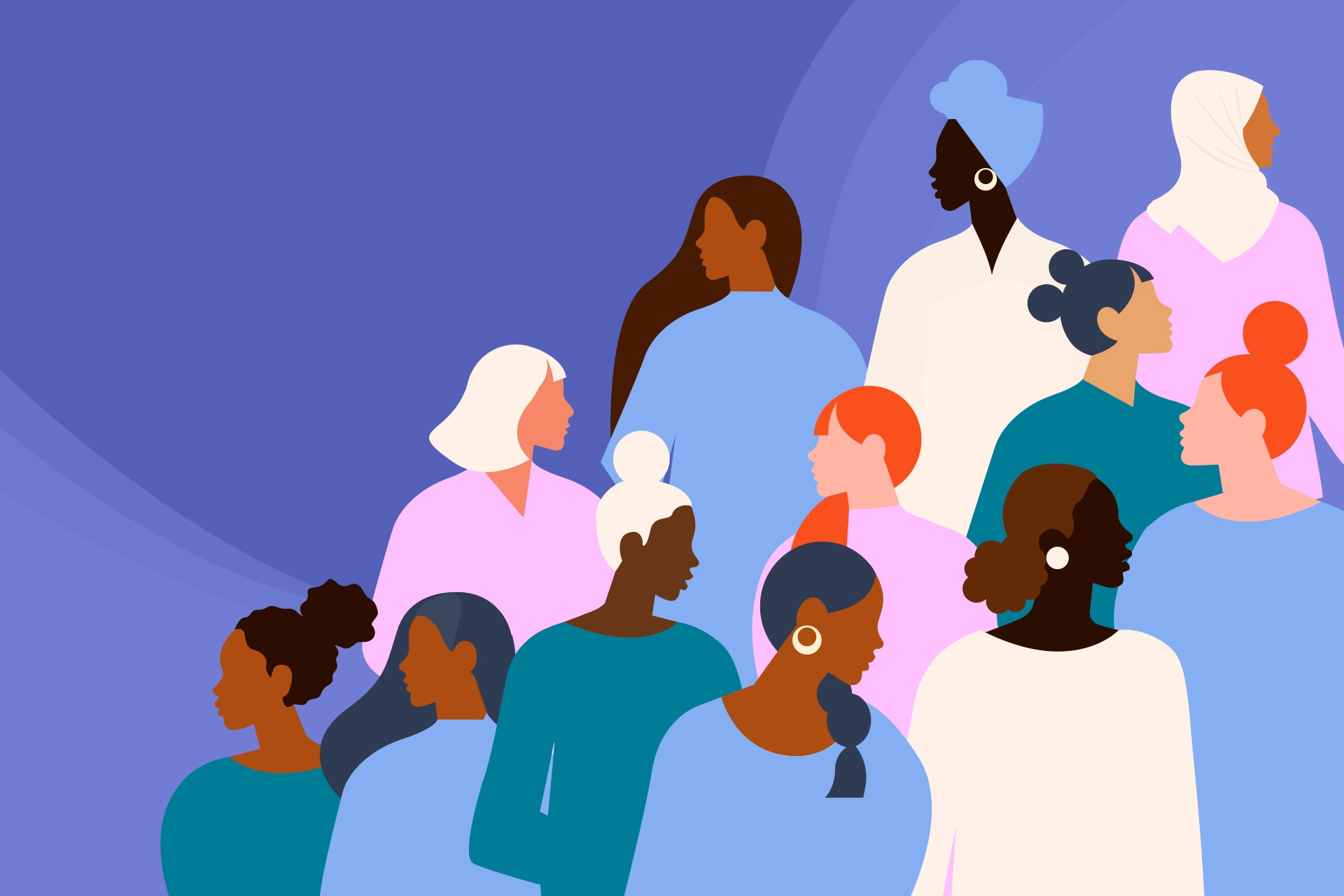 An illustration of a diverse group of women against a purple backdrop