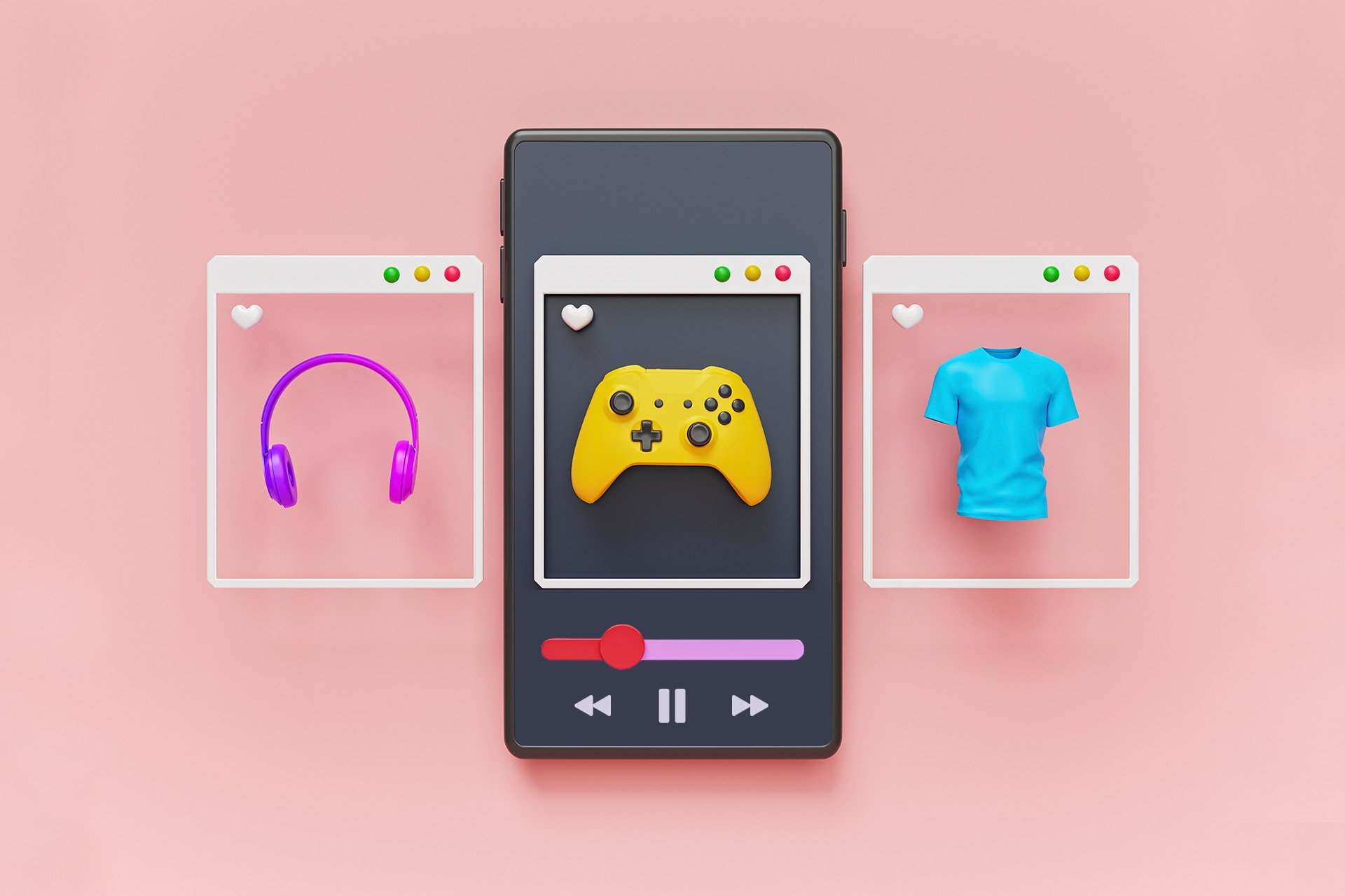 Mock-ups of several YouTube ads hovering over a smartphone in a carousel format that give you a sense of how video marketing works. The first ad features a pair of headphones, the second ad features a video game controller, and the final ad in the series displays a blue t-shirt.