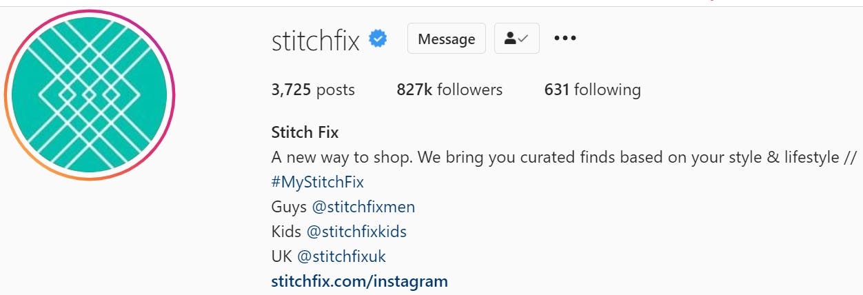 Instagram bio example with branded hashtag and links to other brand accounts.
