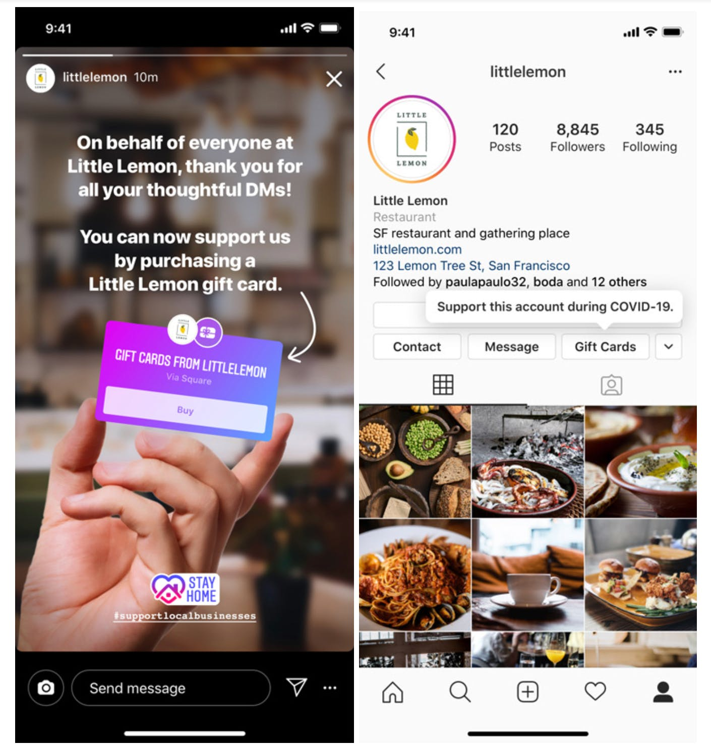 Users can buy Little Lemon's gift cards from their profile or Stories