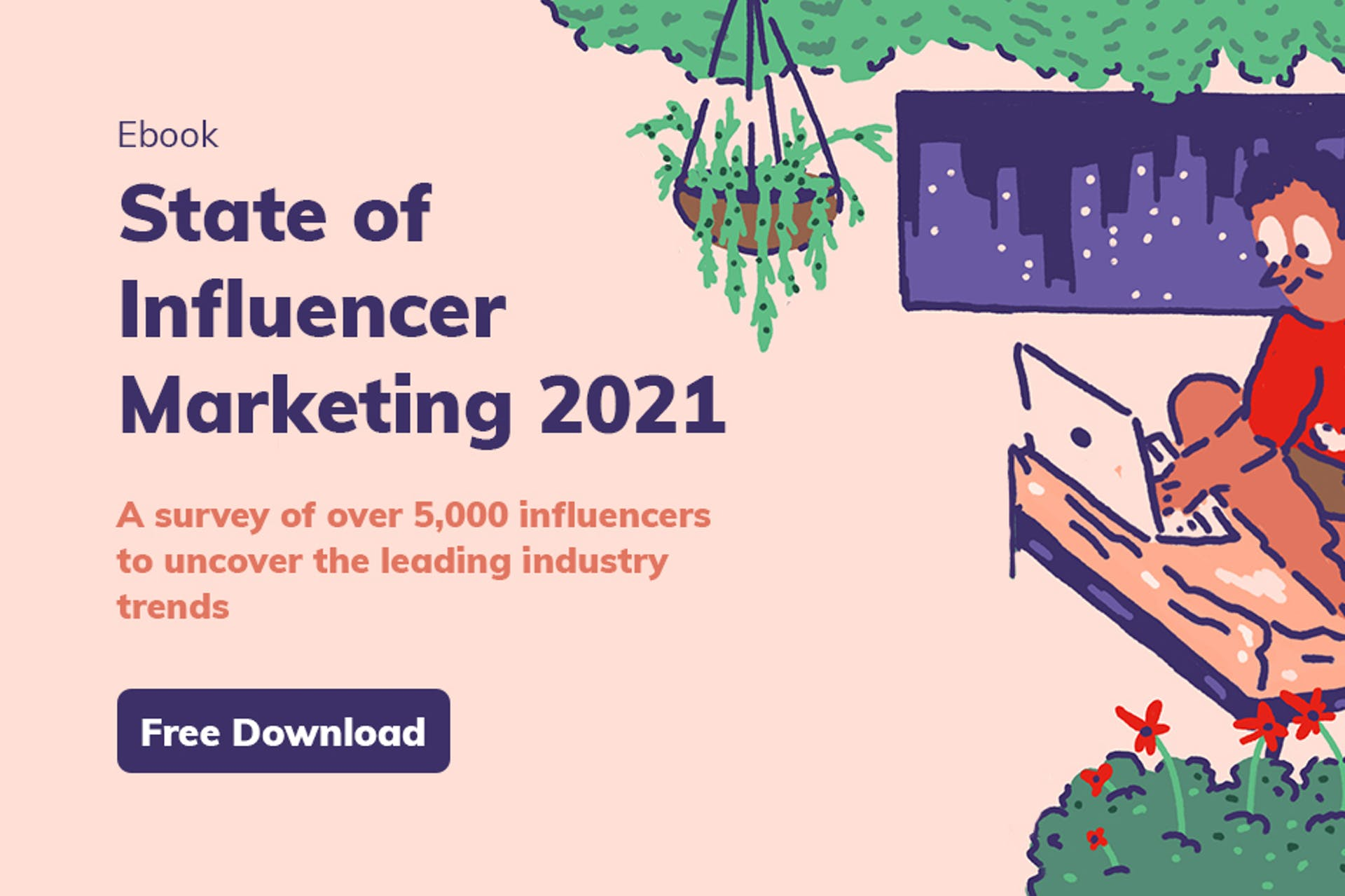 Ebook cover for the state of influencer marketing 2021 report