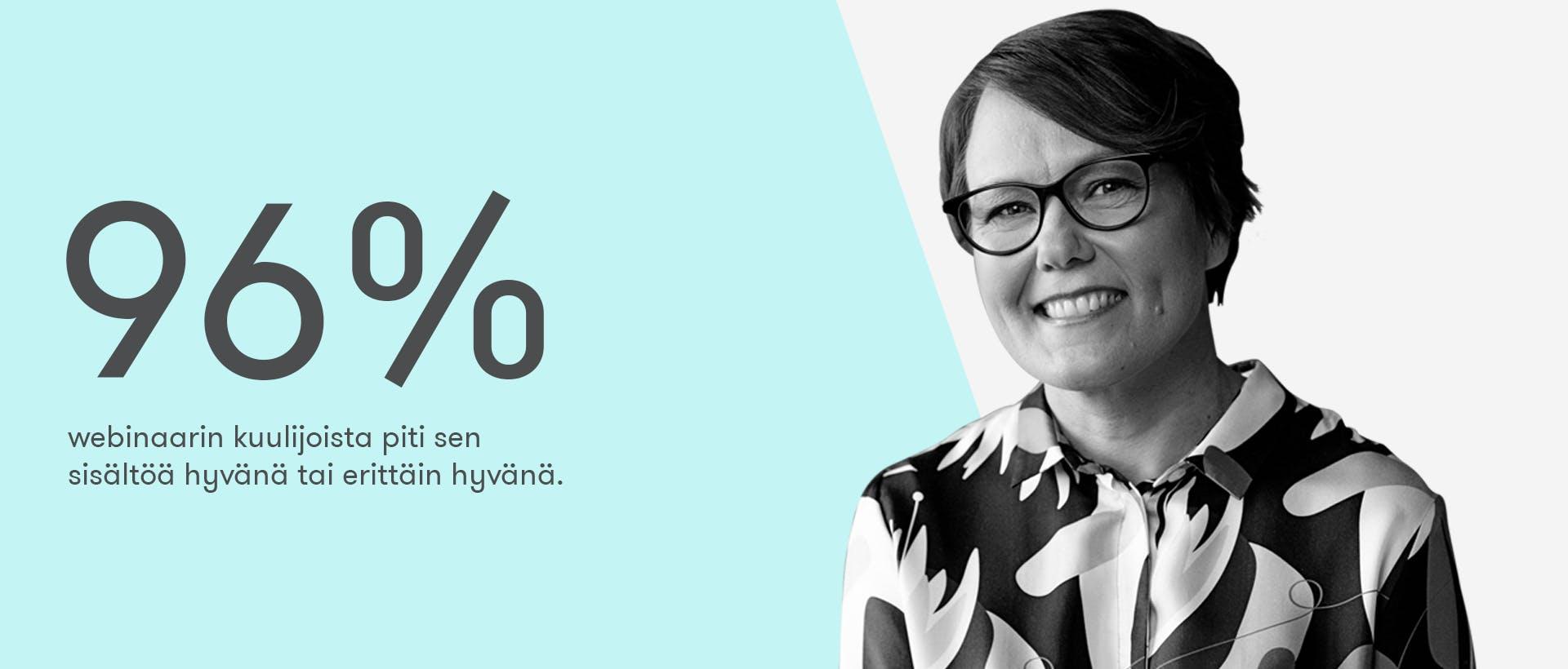 Vastuullisuusviestinnän perusteet -webinaarin kuulijoista 96% piti sitä hyvänä tai erittäin hyvänä