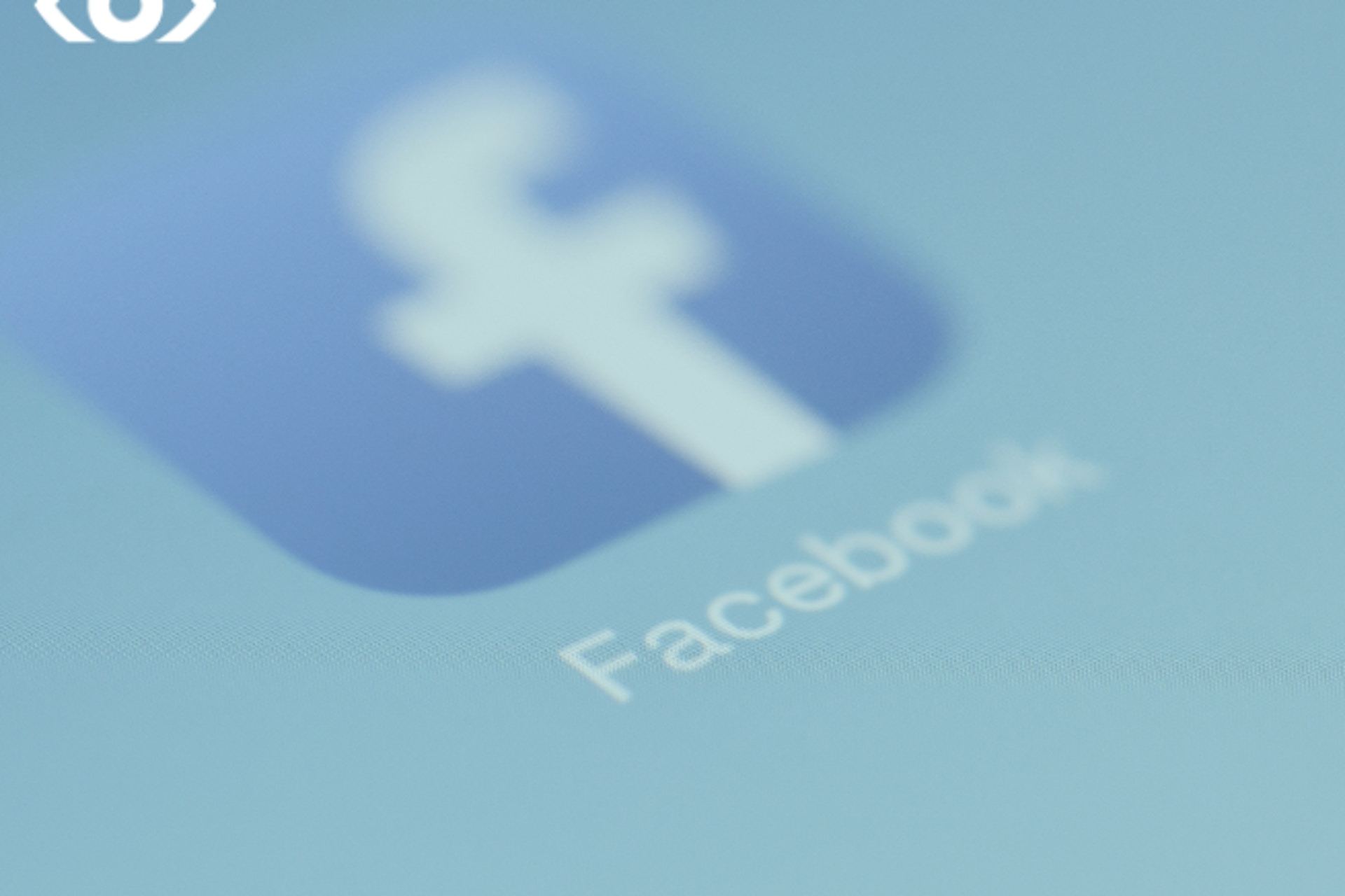 Diagonal Facebook logo on blue background with meltwater overlay.
