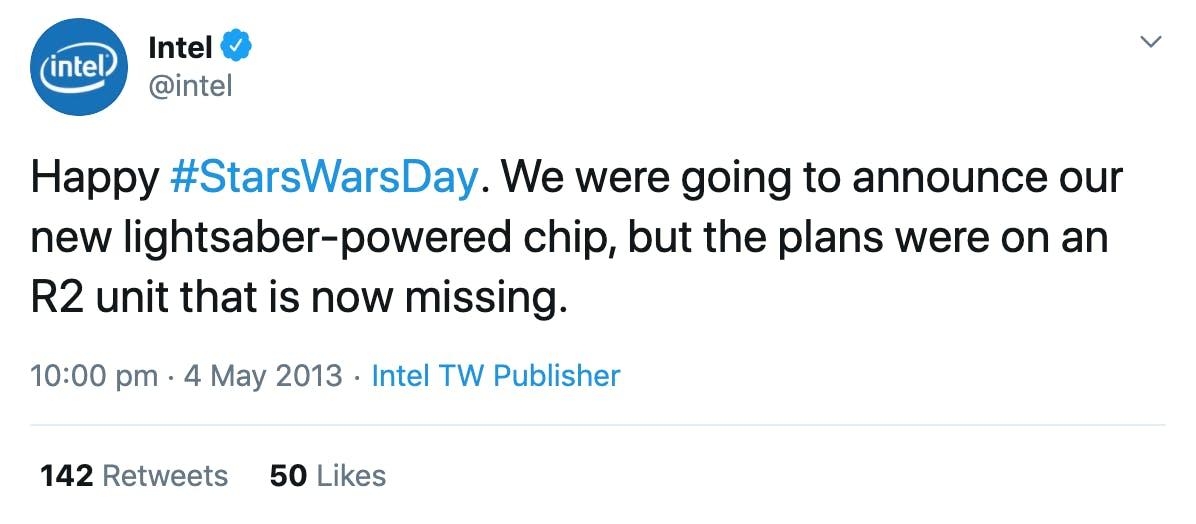 Intel's humorous Star Wars Day post