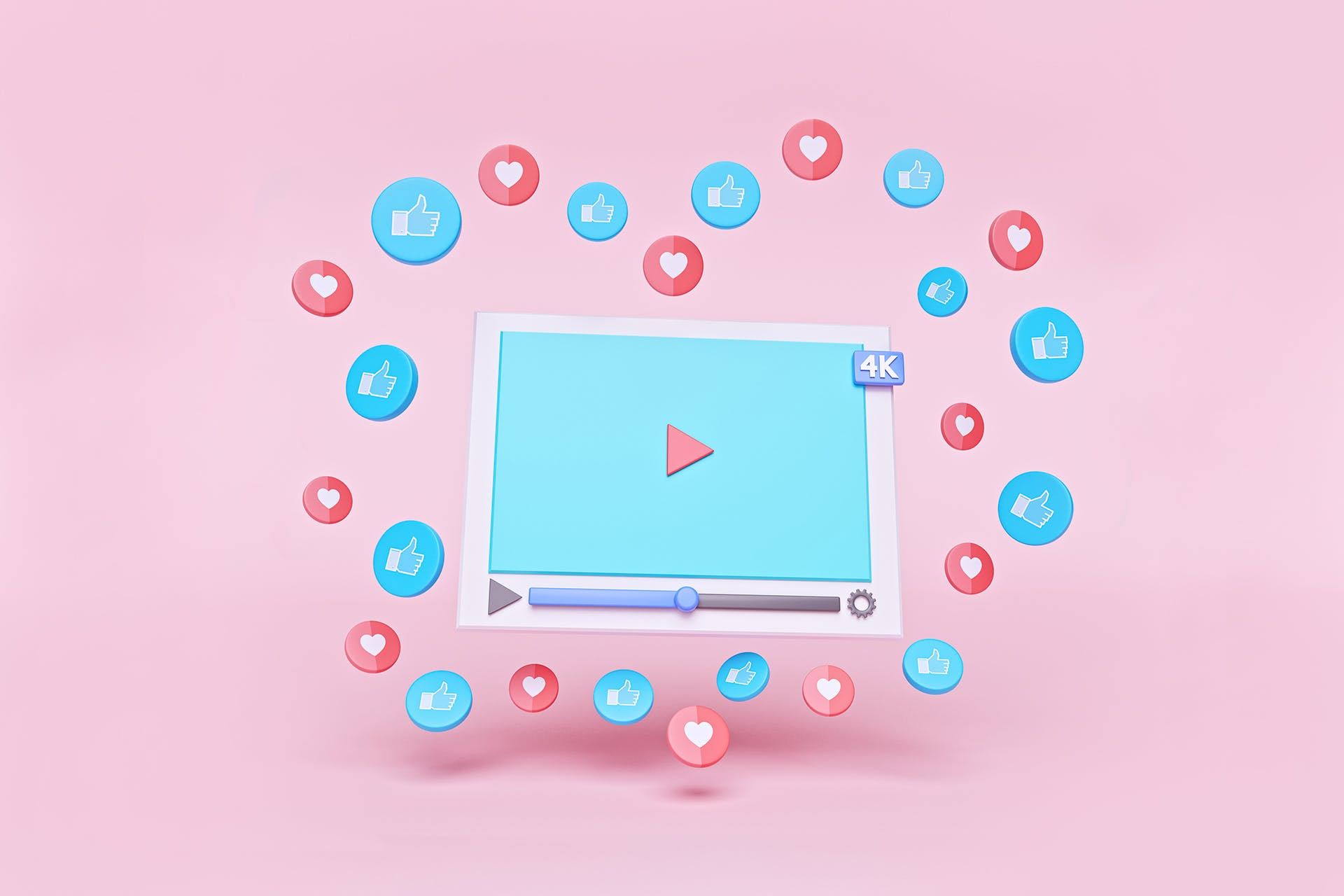 """An icon of a YouTube video player with icons of hearts and """"Likes"""" floating around the video in a heart-like shape. This is the type of engagement most marketers dream their YouTube video marketing strategy will generate."""