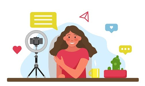 Animation of influencer producing content