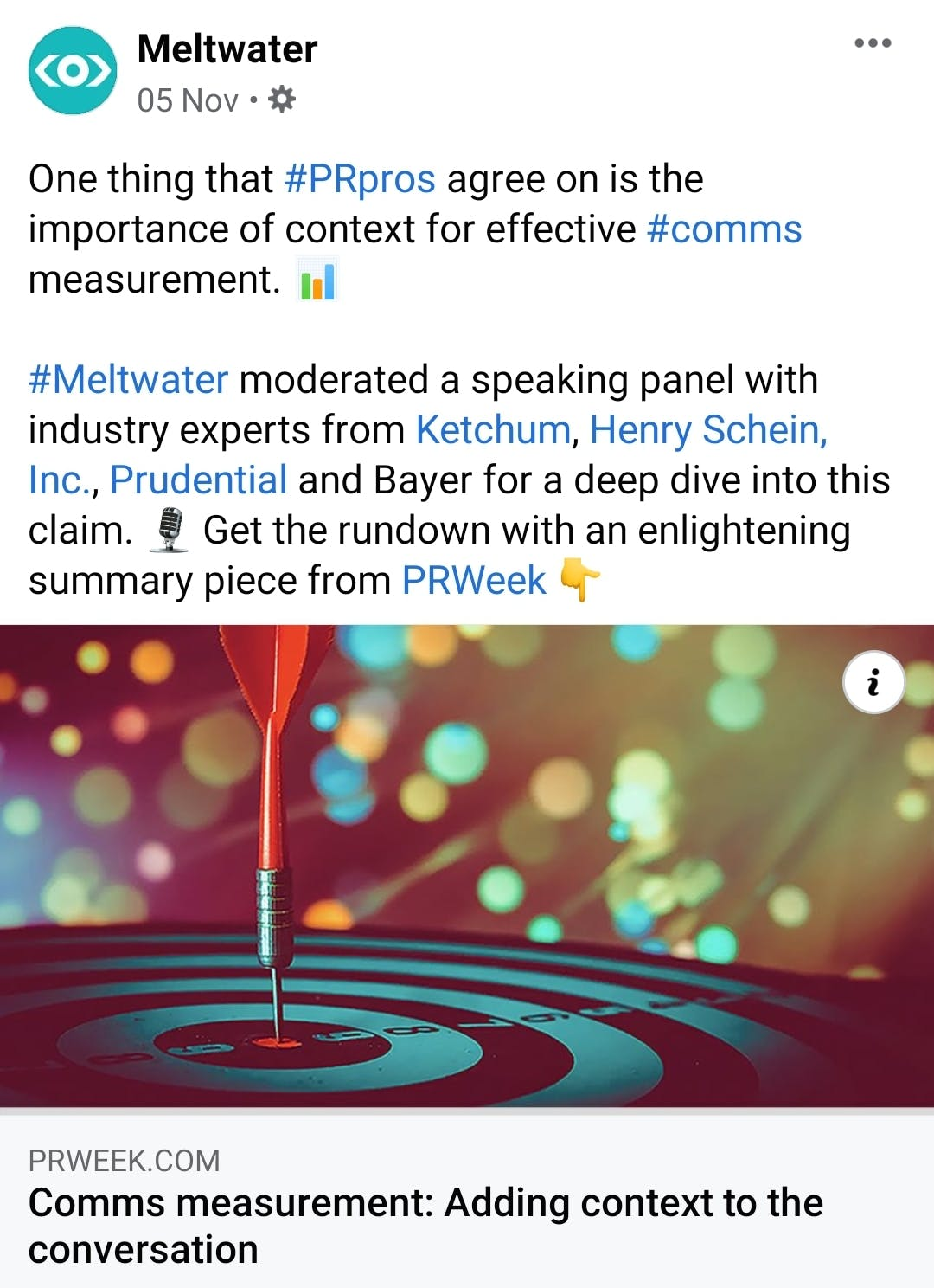 screenshot of meltwater facebook business page