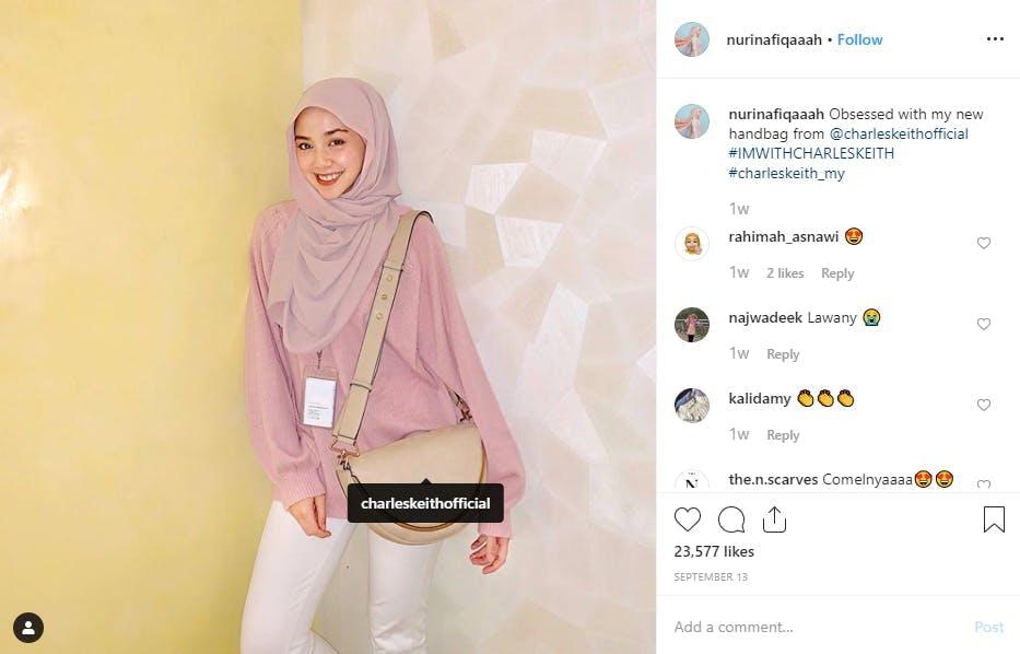 Influencer modeling bag on instagram post