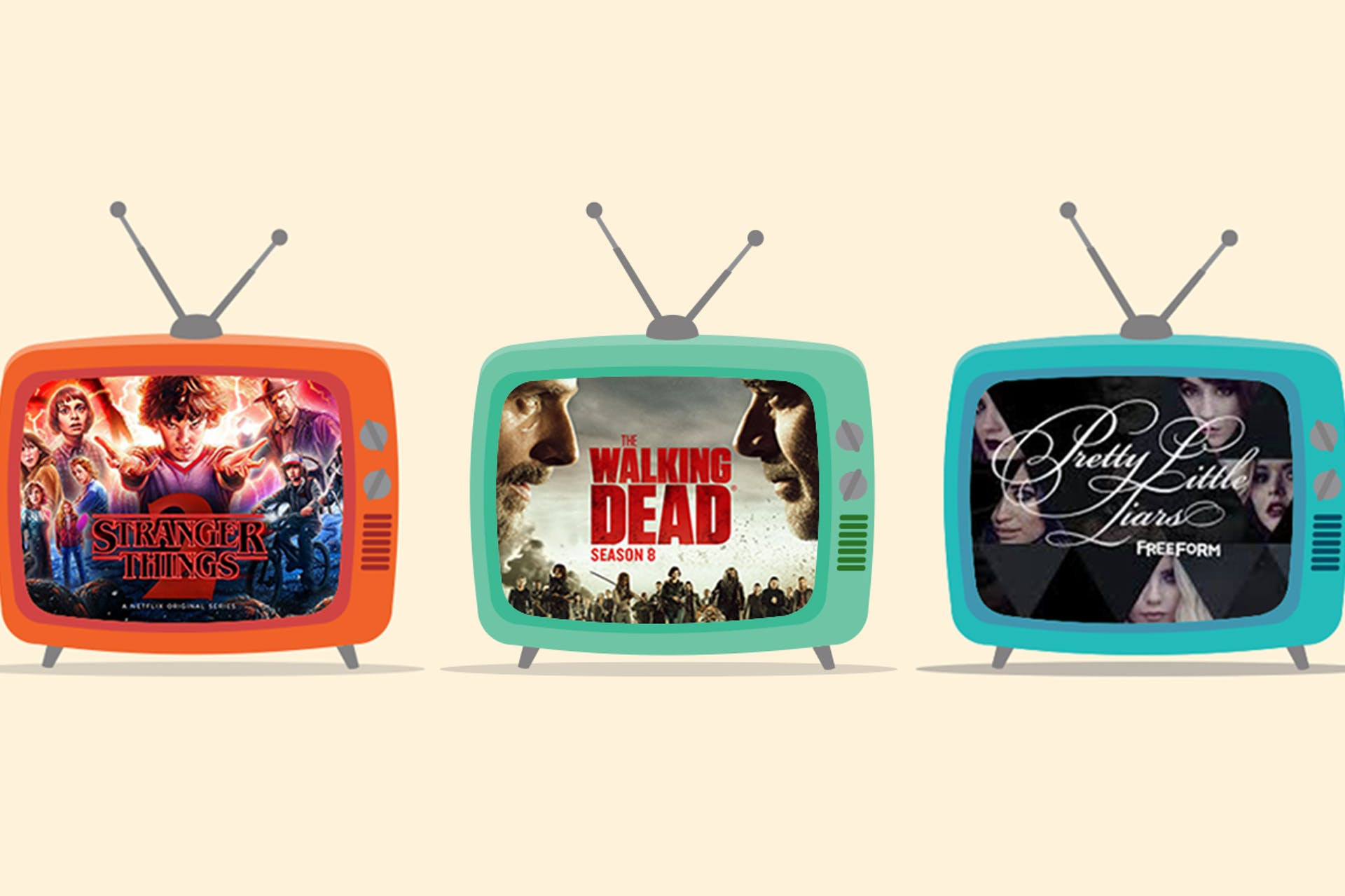 Three illustrated TVs showing these TV shows respectively (Left to Right): Red TV: Stranger Things; Green TV; The Walking Dead; Blue TV: Pretty Little Liars