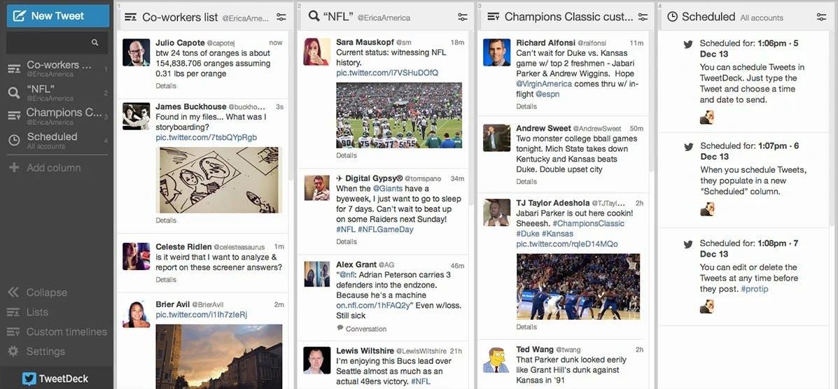 twitter's tweetdeck dashboard for social media monitoring tool