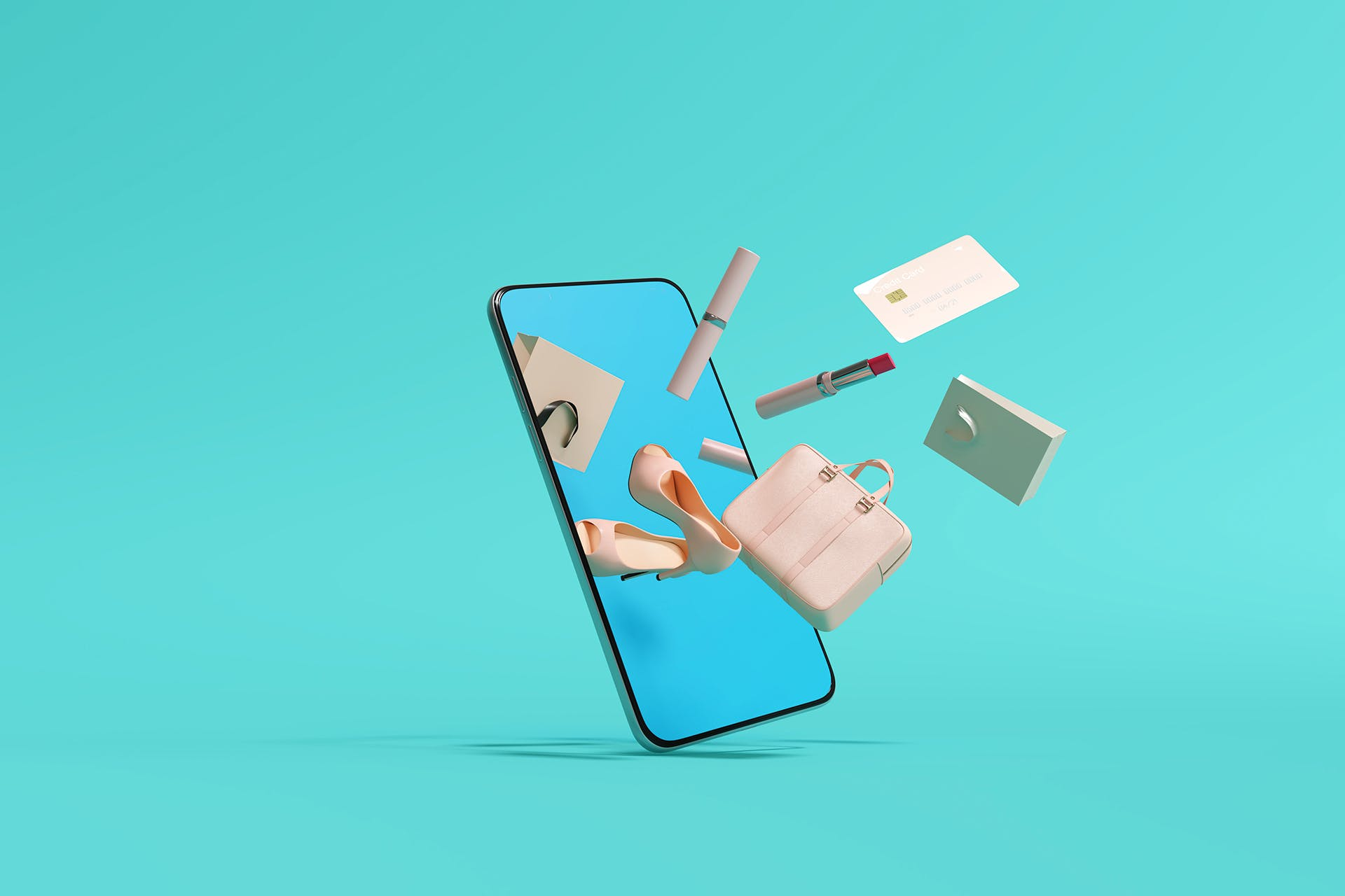 A smartphone that has various objects like a pair of shoes, a suitcase, a credit card, and lipstick all flying out of the screen and into the real world. This image illustrates the growing shift toward online shopping, and in particular social commerce through platforms like Facebook Marketplace.