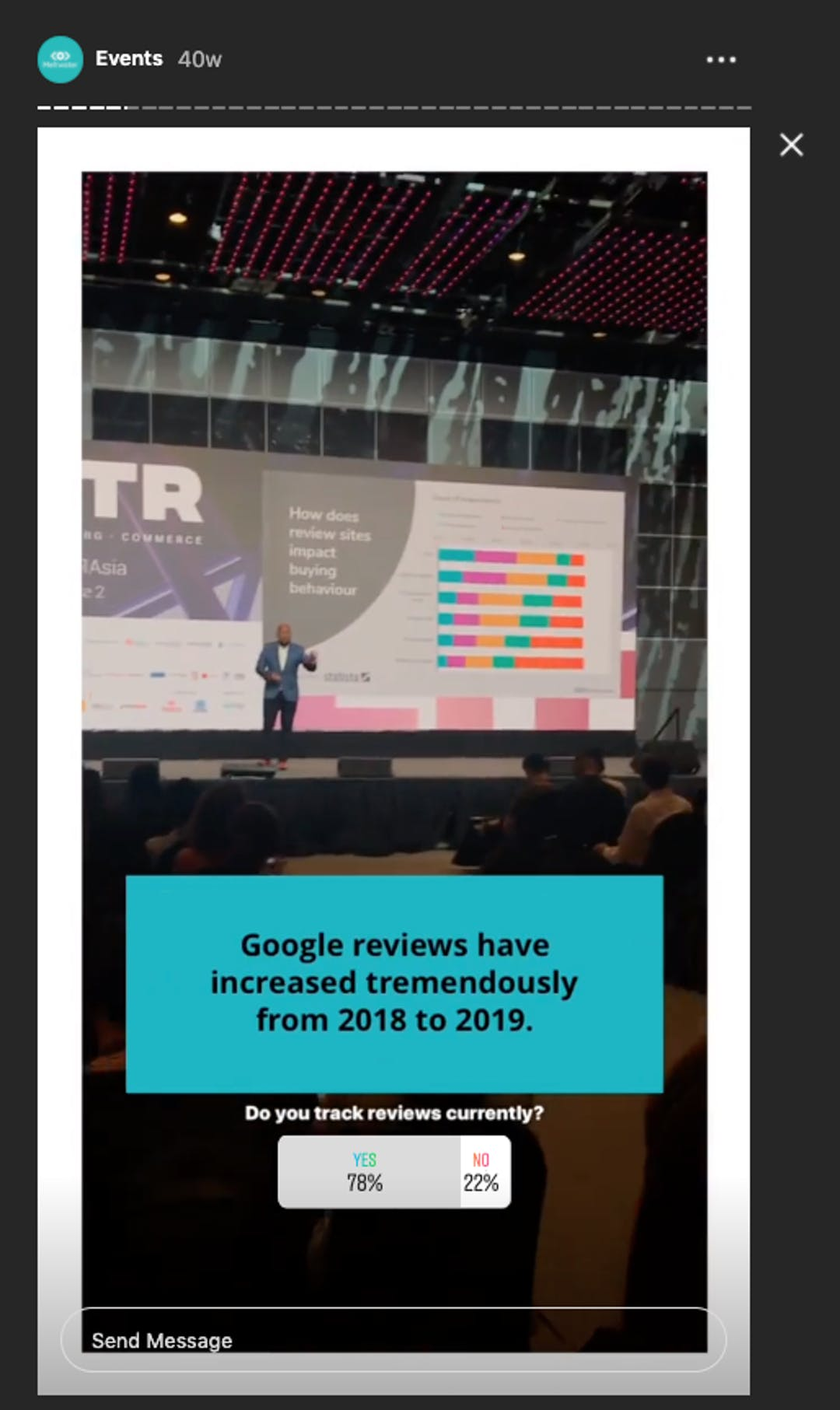 An example of an Instagram Story video within Meltwater's Highlights showcasing a presentation at FUTR 2019