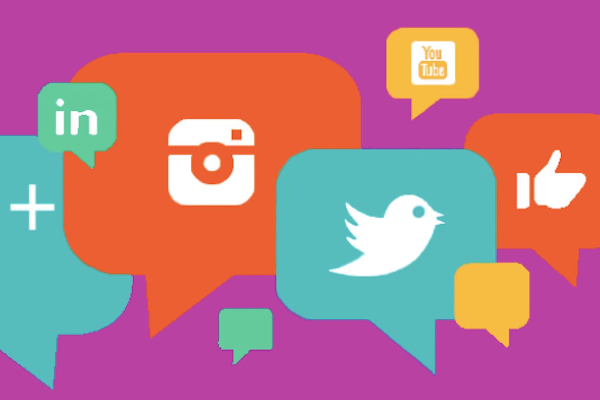 Social media icons in speech bubbles.