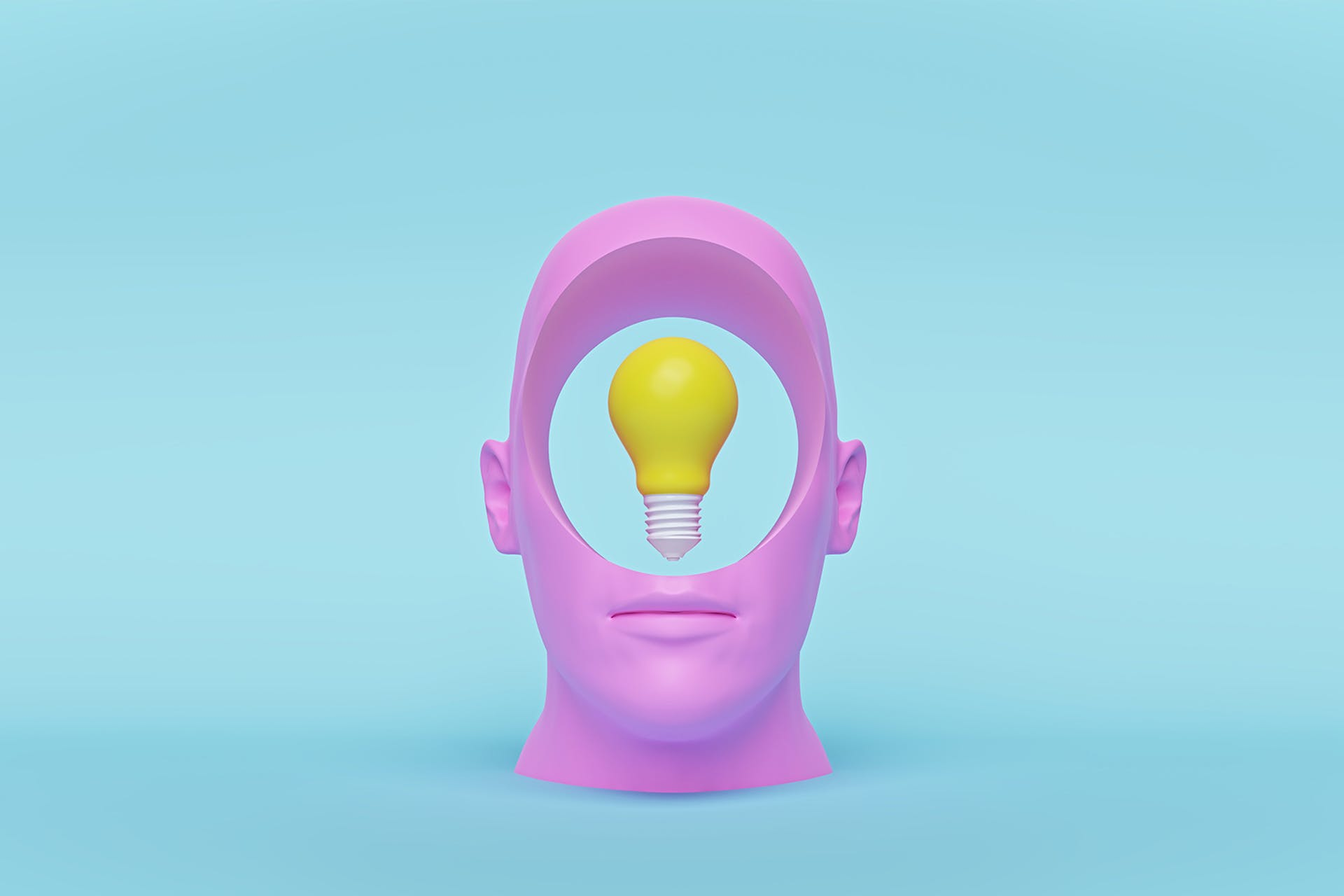A mold of a human head but the face itself is missing. Instead, there is a hole with a lightbulb in the center. The image is like looking inside of a person to see what ideas they are thinking up, which is what this blog about the most innovative social media posts of 2021 is all about.