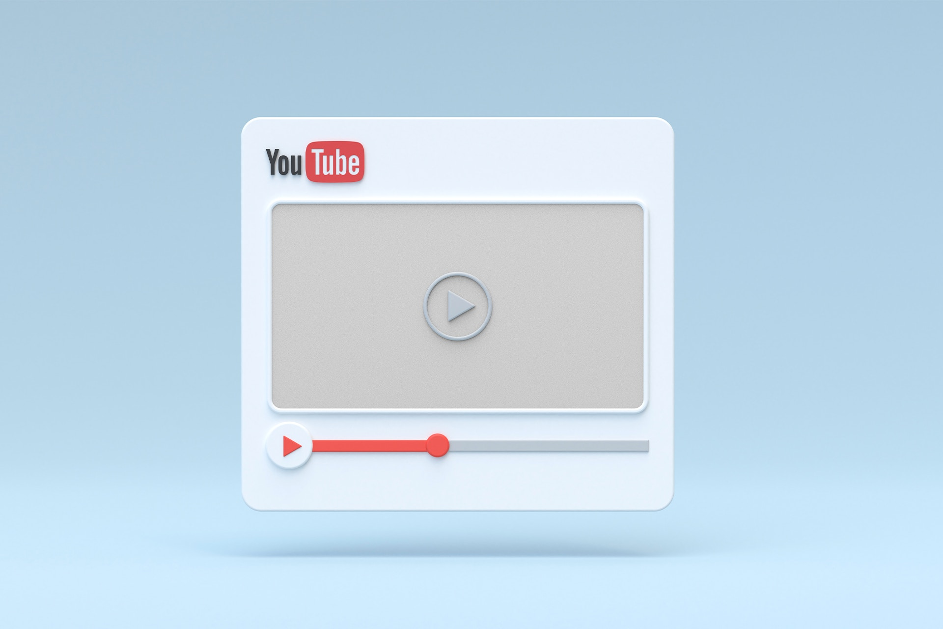 How to create and manage a YouTube channel. Image with YouTube video on blue background showing video red play bar quarter way through