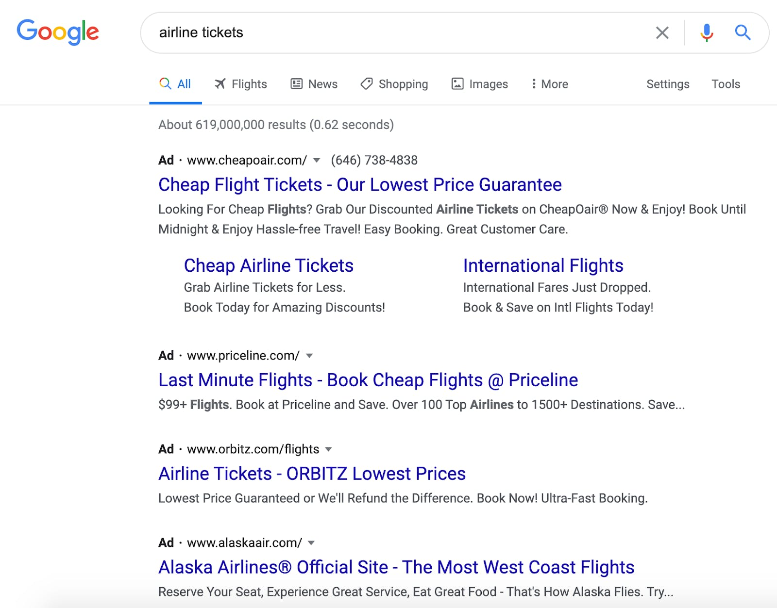 """PPC Google Ads example for the keyword """"airline tickets"""""""